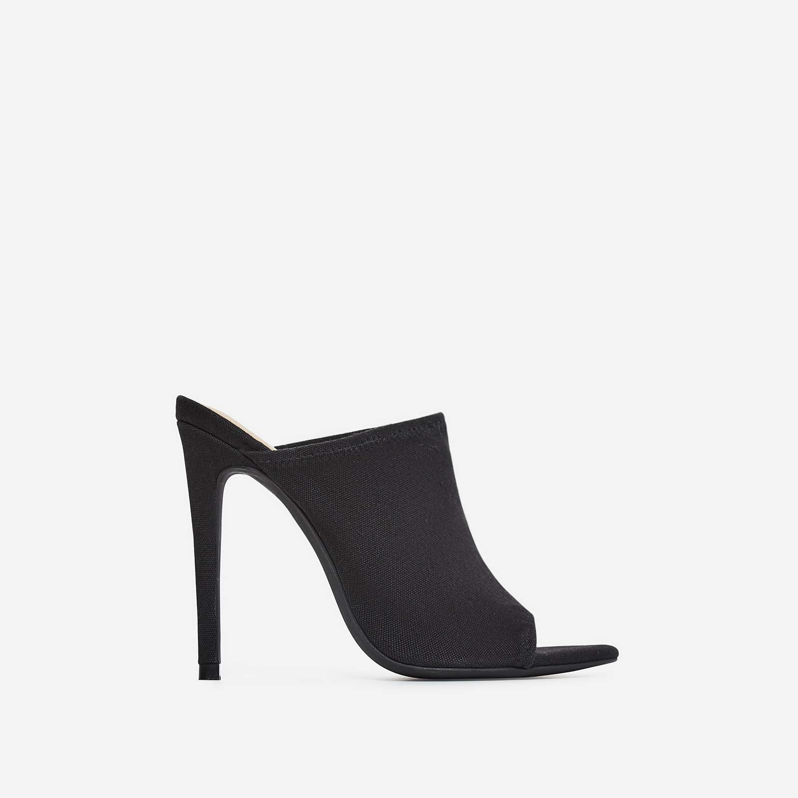 Jade Peep Toe Mule In Black Canvas