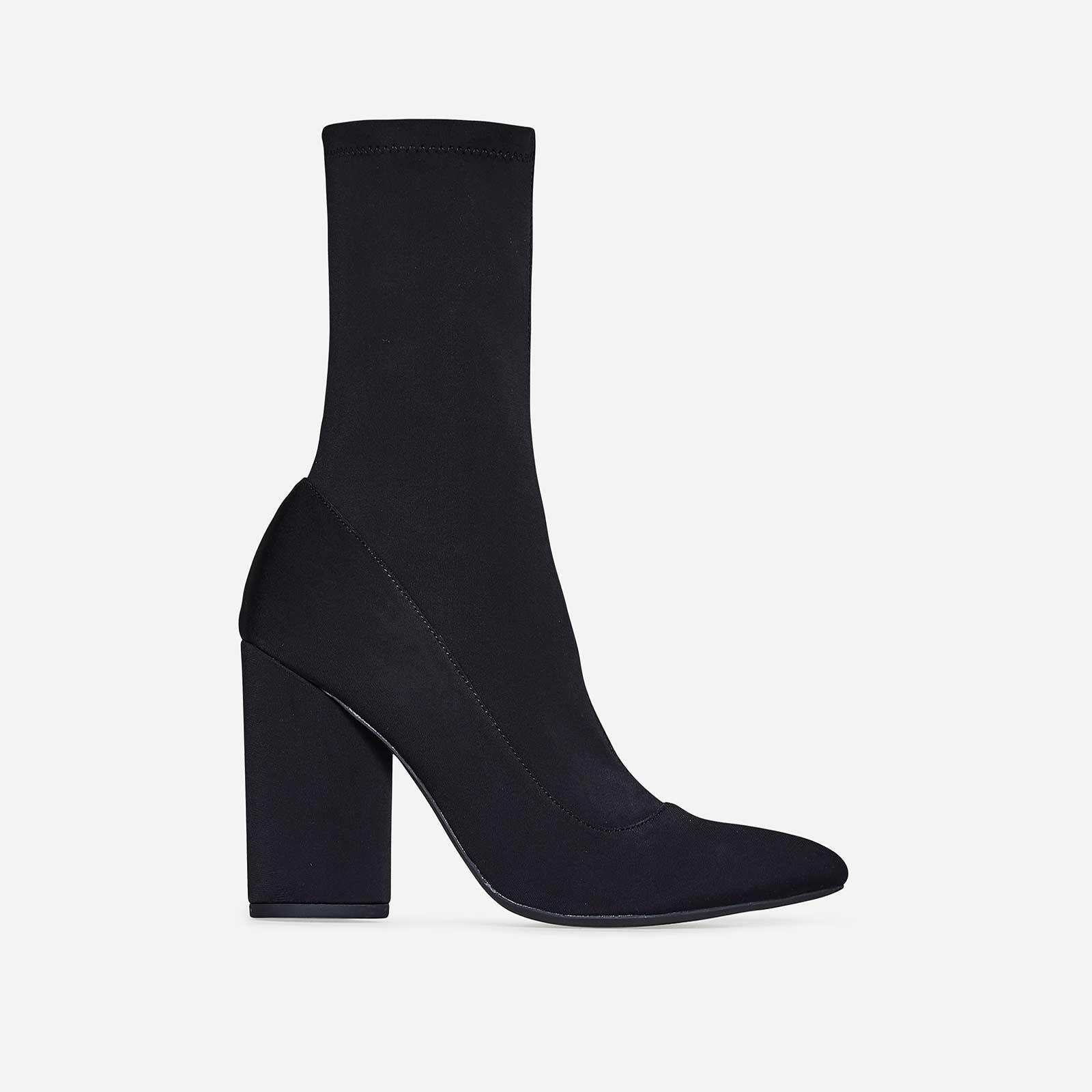 Jameson Block Heel Sock Boot In Black Lycra