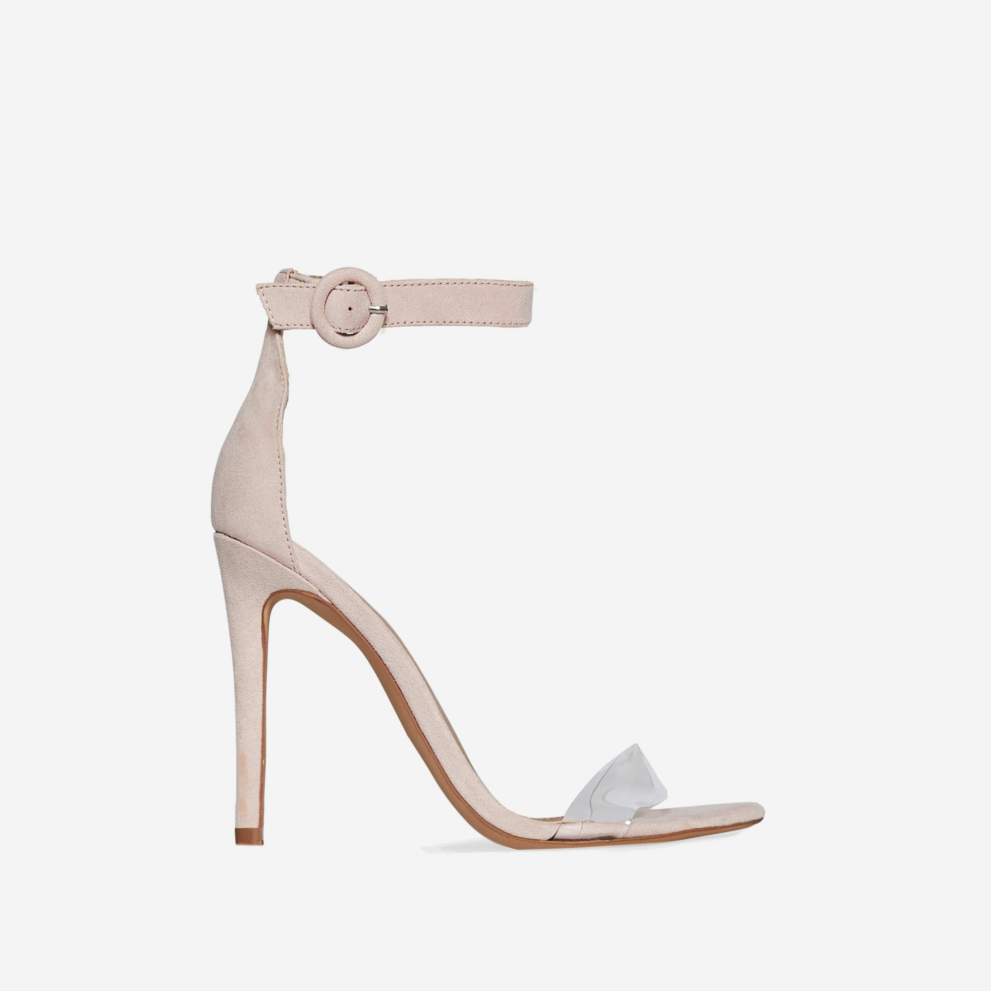 Jena Perspex Barley There Heel In Nude Faux Suede