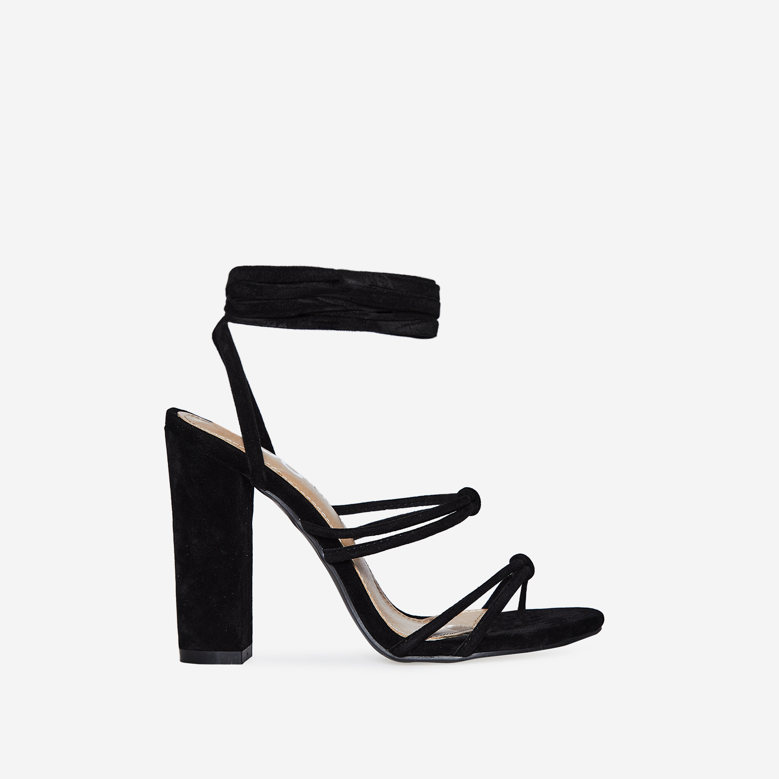 Joice Knot Detail Lace Up Block Heel In Black Faux Suede