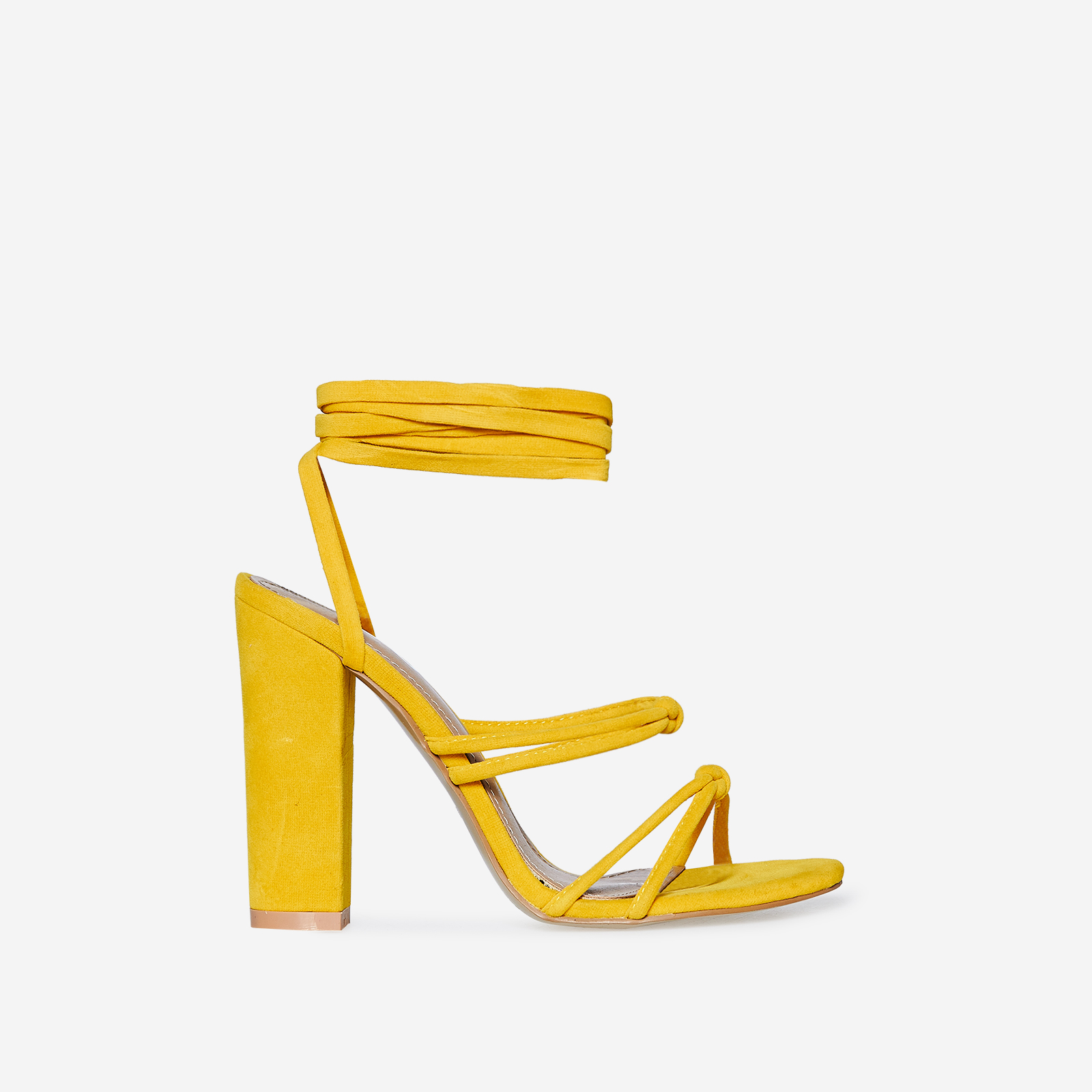 Joice Knot Detail Lace Up Block Heel In Yellow Faux Suede