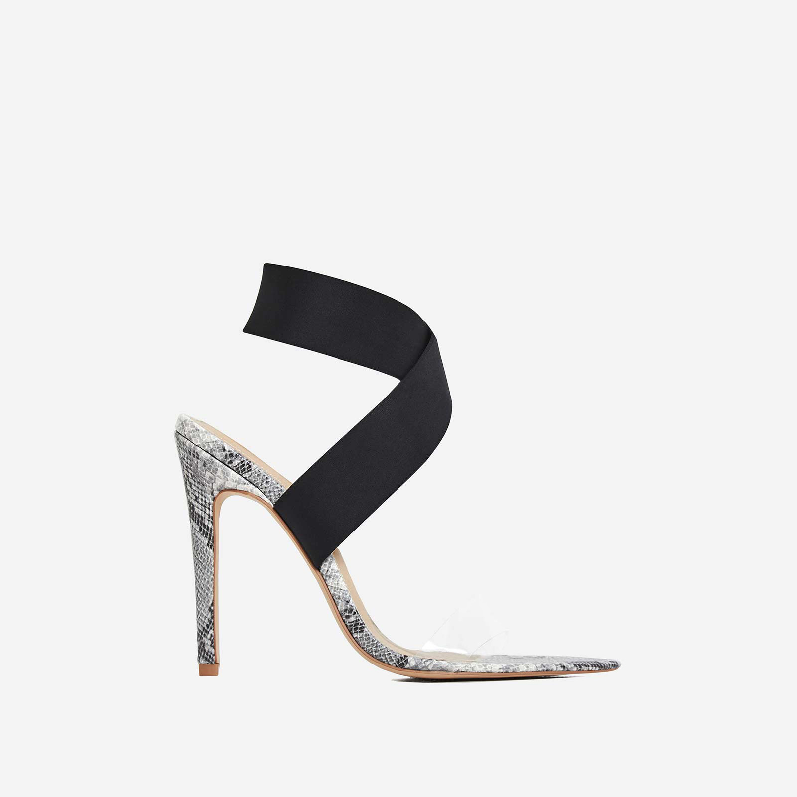 Joma Perspex Detail Heel In Grey Snake Print Faux Leather