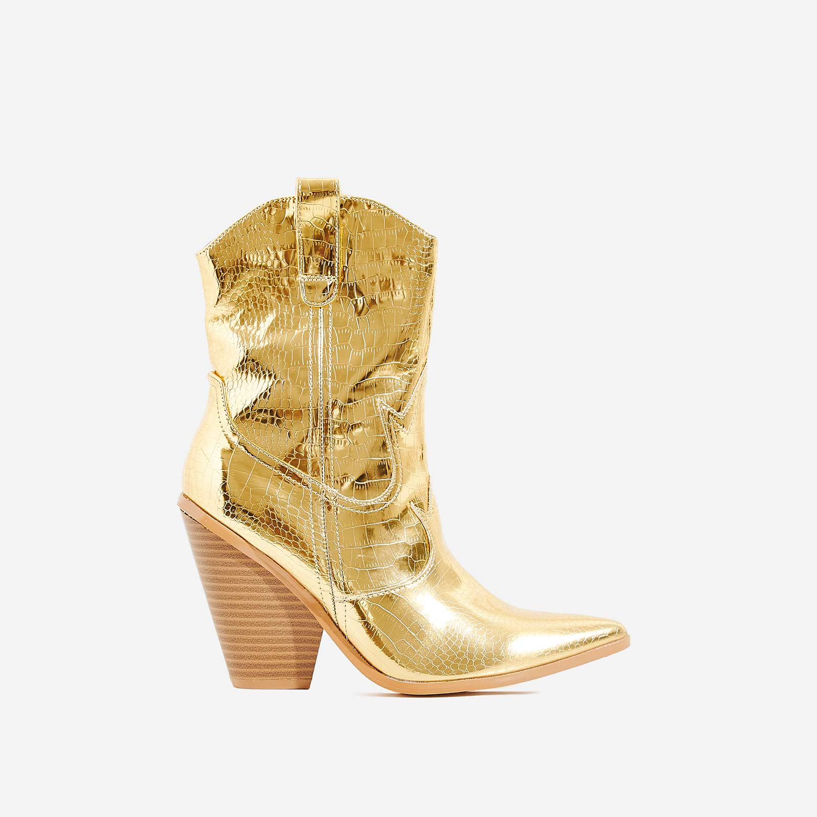 Kani Western Ankle Boot In Metallic Gold Croc Print Faux Leather