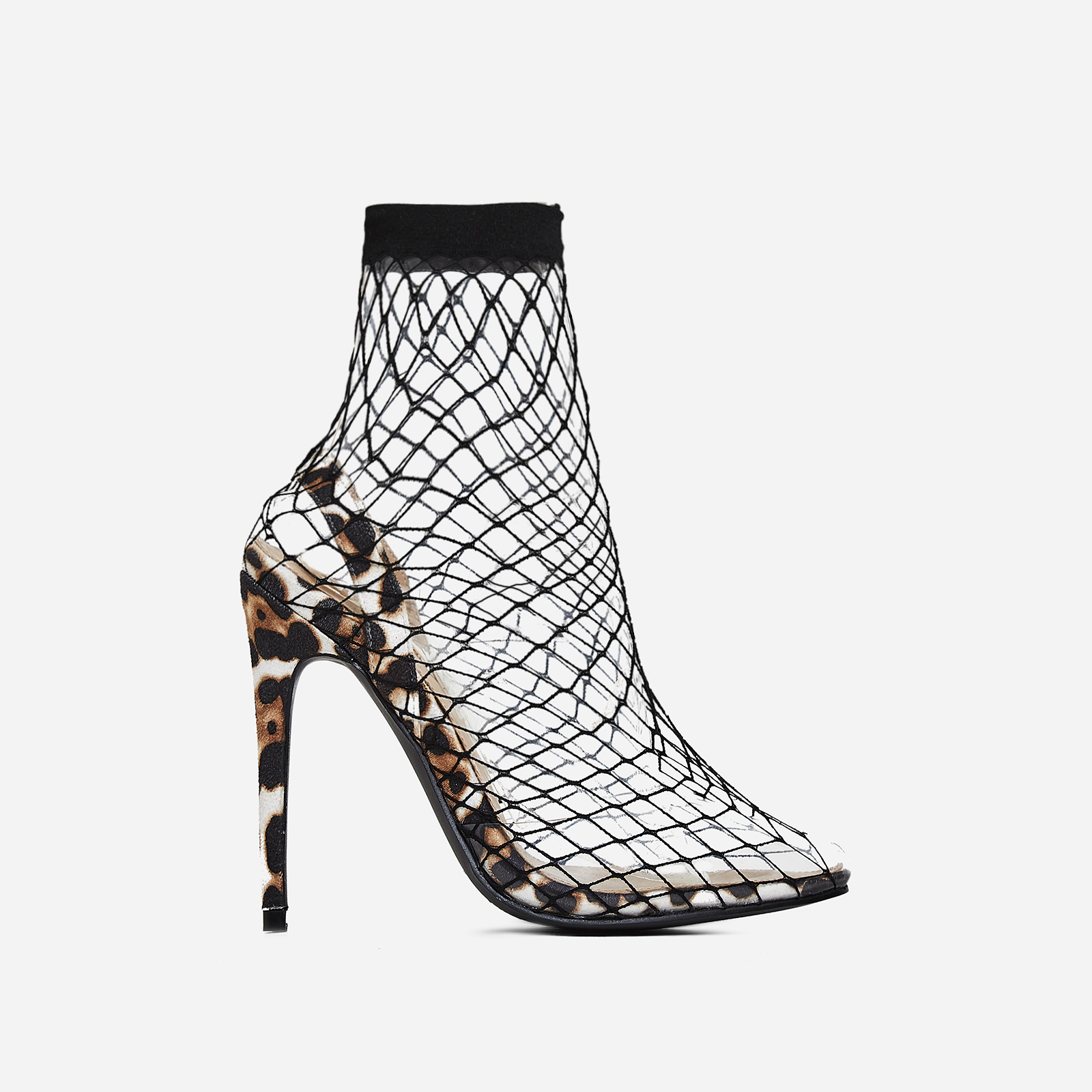 Juan Fishnet Perspex Heel In White Leopard Print Faux Suede