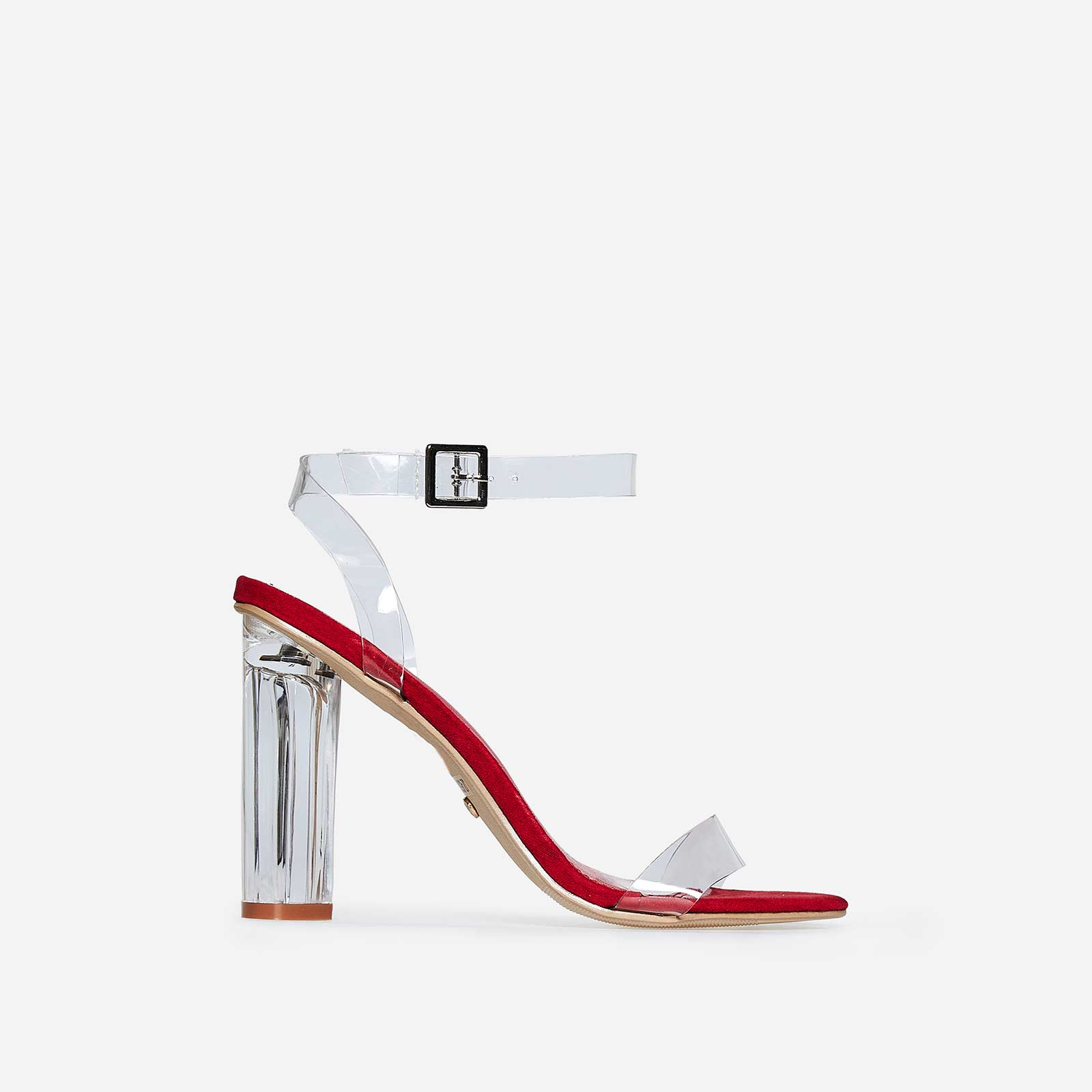 Mara Perspex Heel In Red Faux Suede