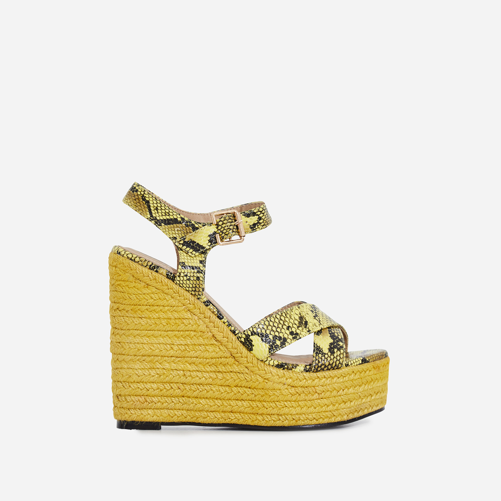Kadi Espadrille Wedge Platform Heel In Yellow Snake Faux Leather
