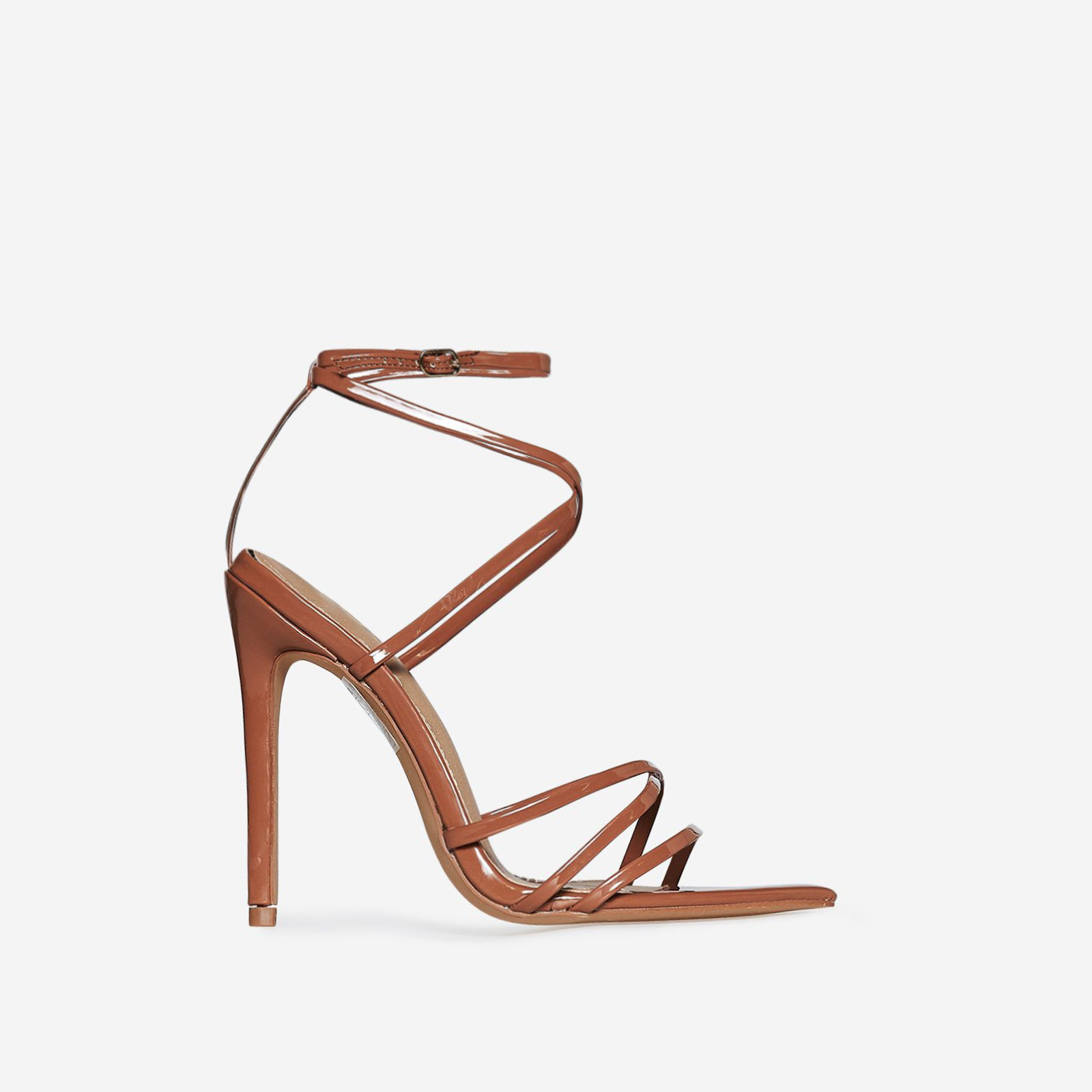 Kaia Pointed Barely There Heel In Mocha Patent