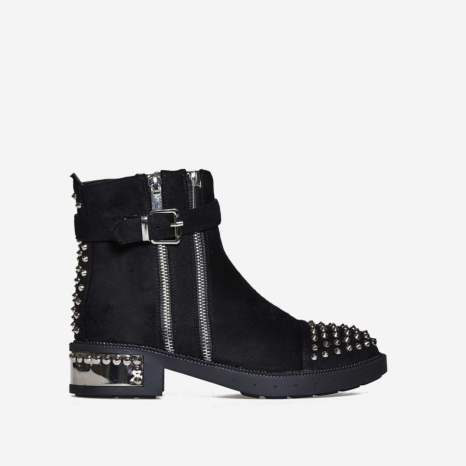 Kalda Zip And Studded Detail Biker Boot In Black Faux Suede