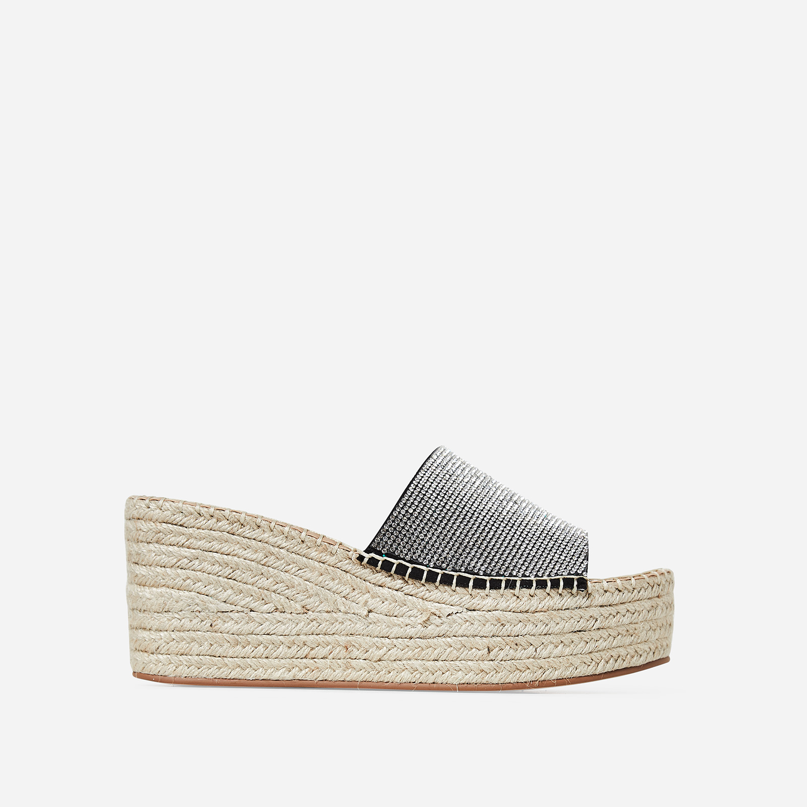 Kay Diamante Detail Flatform Espadrille Slider In Black Faux Suede