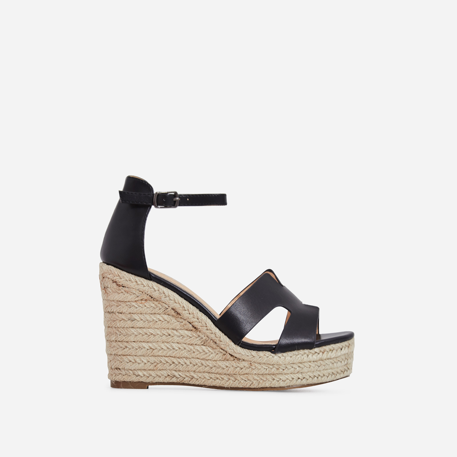 Kayson Platform Espadrille Wedge Block Heel In Black Faux Leather