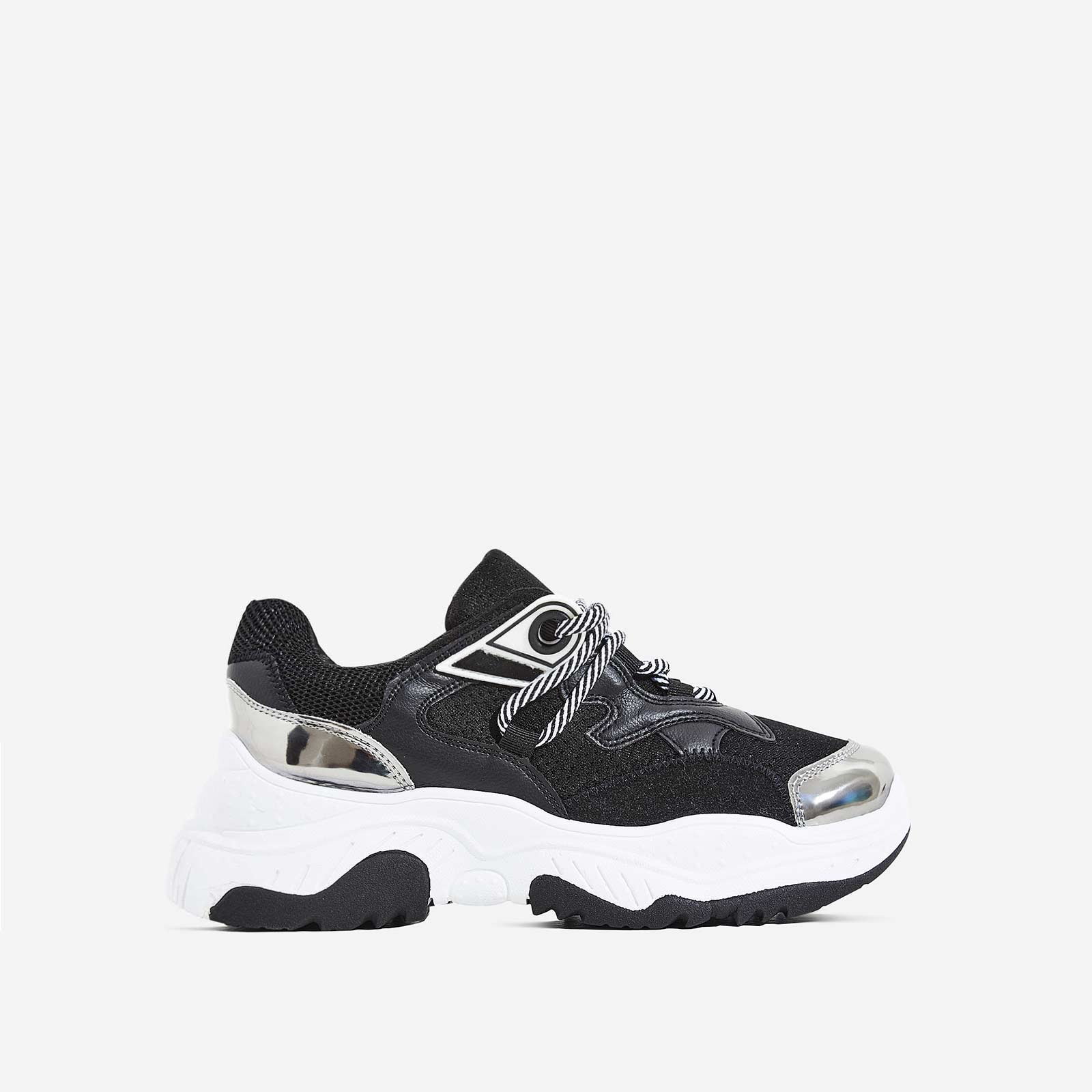 Paxton Chunky Sole Mesh Trainers In Black