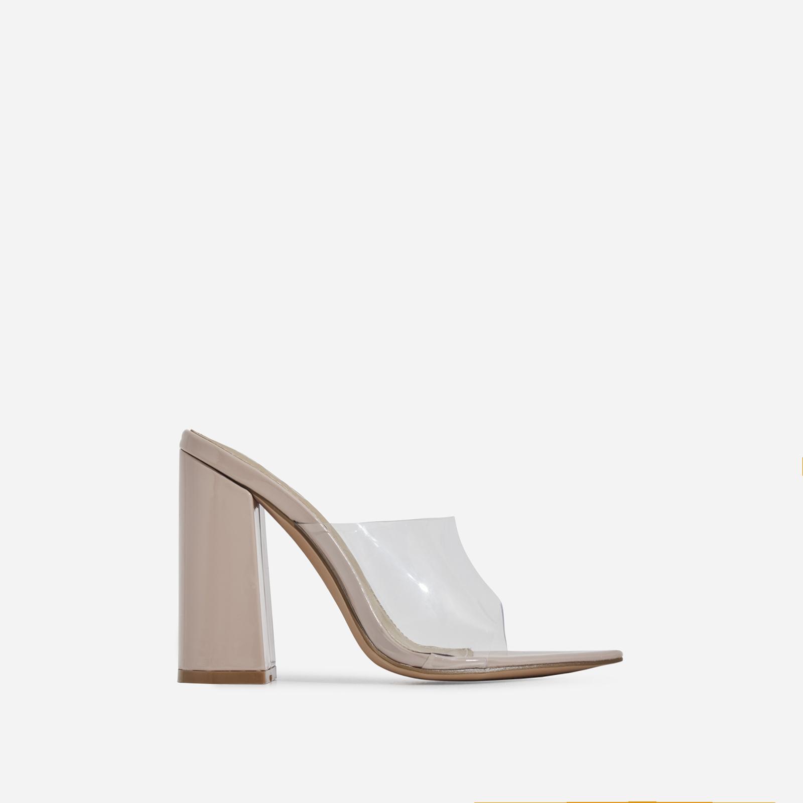 Kelby Pointed Peep Toe Block Heel Mule In Nude Patent