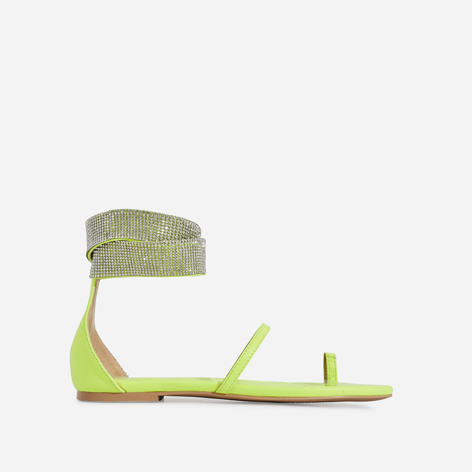 Kelia Diamante Detail Strap Sandal In Lime Green Faux Leather