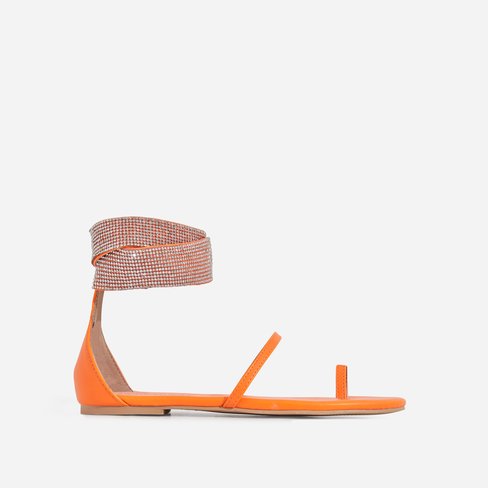 Kelia Diamante Detail Strap Sandal In Orange Faux Leather