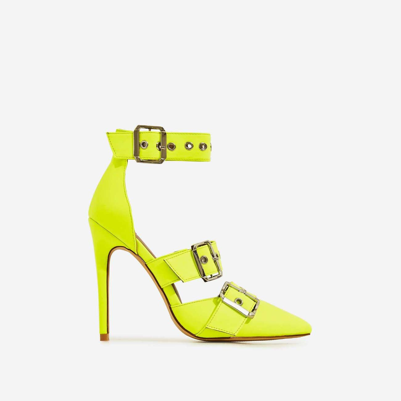 Kendall Buckle Strap Detail Heel In Neon Yellow Faux Leather