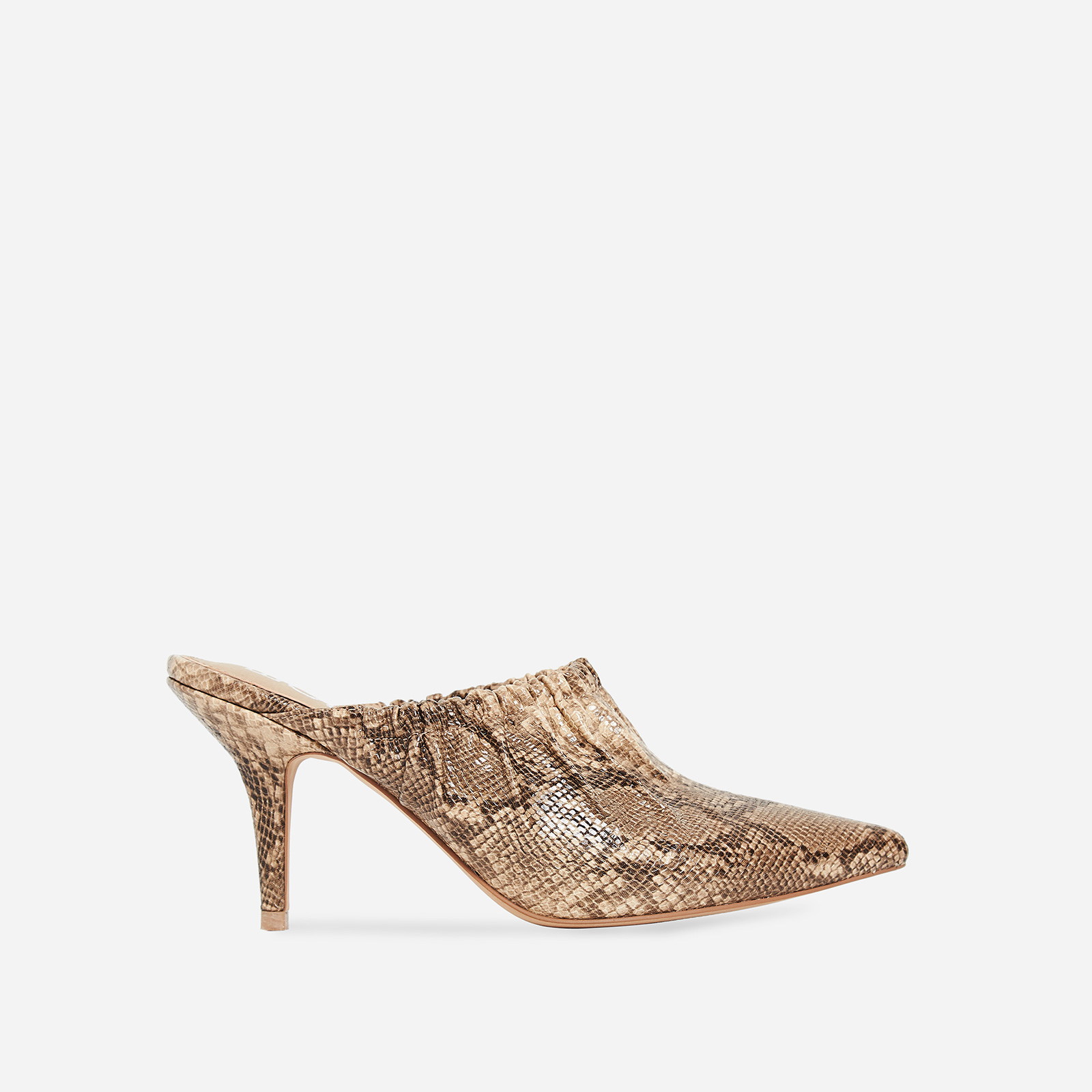 Kenza Pointed Heel Mule In Nude Snake Print Faux Leather