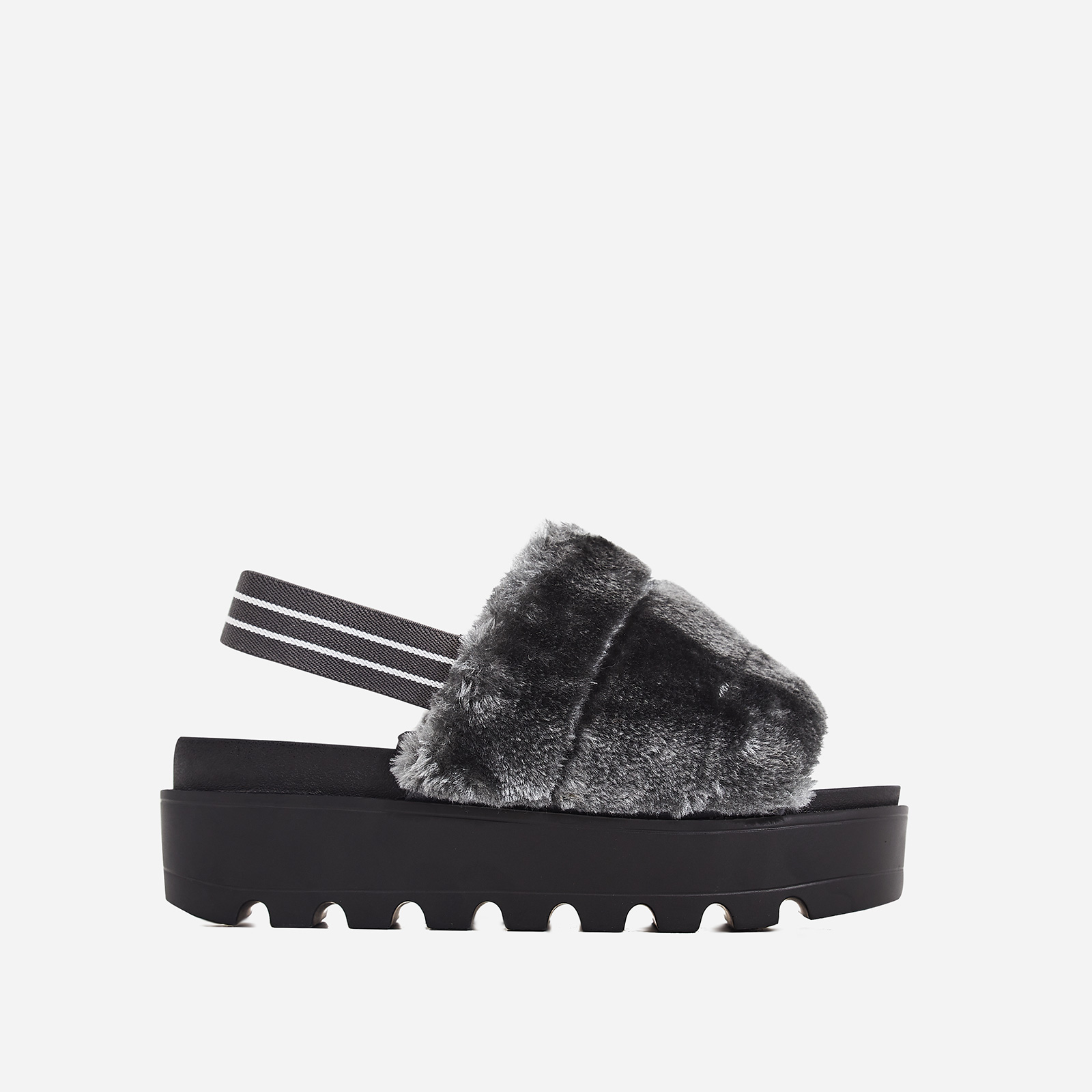 Kenzie Chunky Sole Sandal In Grey Faux Fur