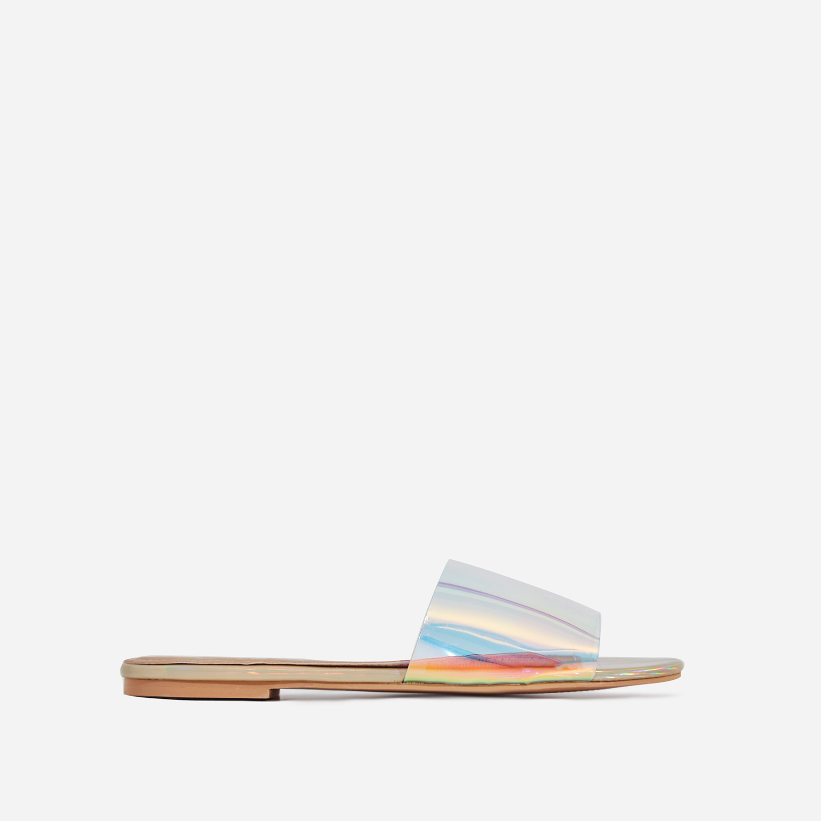Kerrie Iridescent Perspex Sandal In Gold Faux Leather