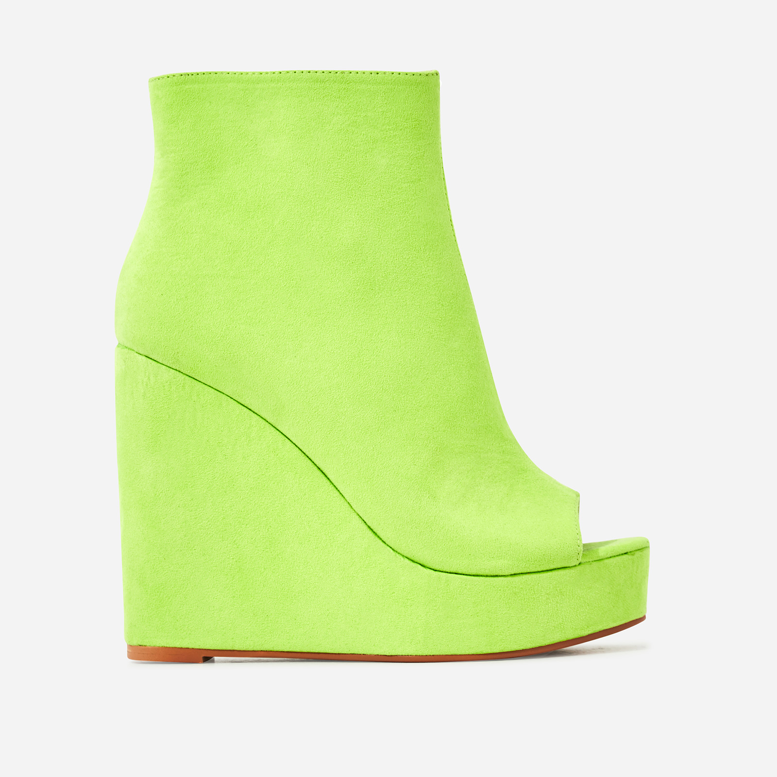Khalid Peep Toe Platform Wedge Ankle Boot In Lime Green Faux Suede