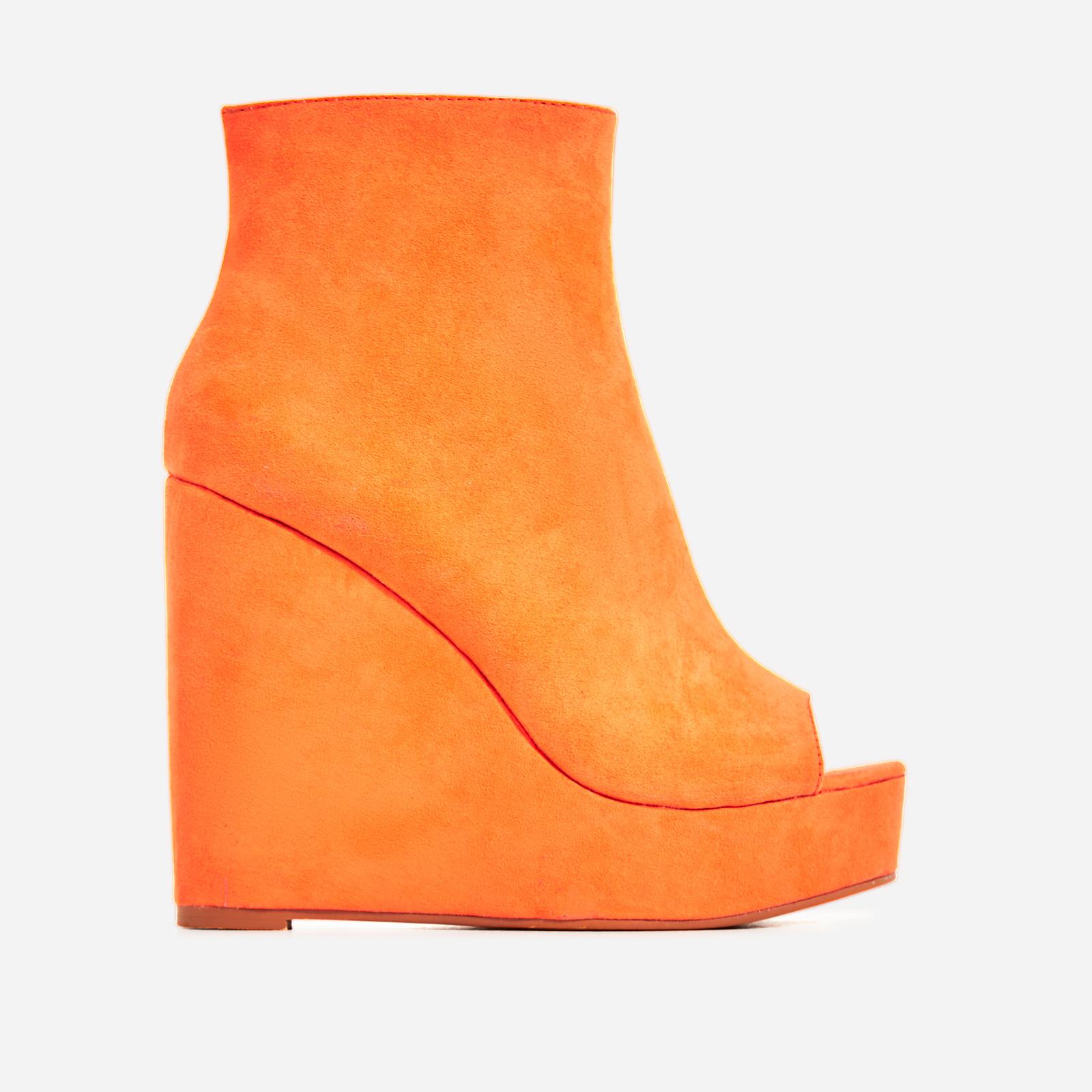 Khalid Peep Toe Platform Wedge Ankle Boot In Orange Faux Suede