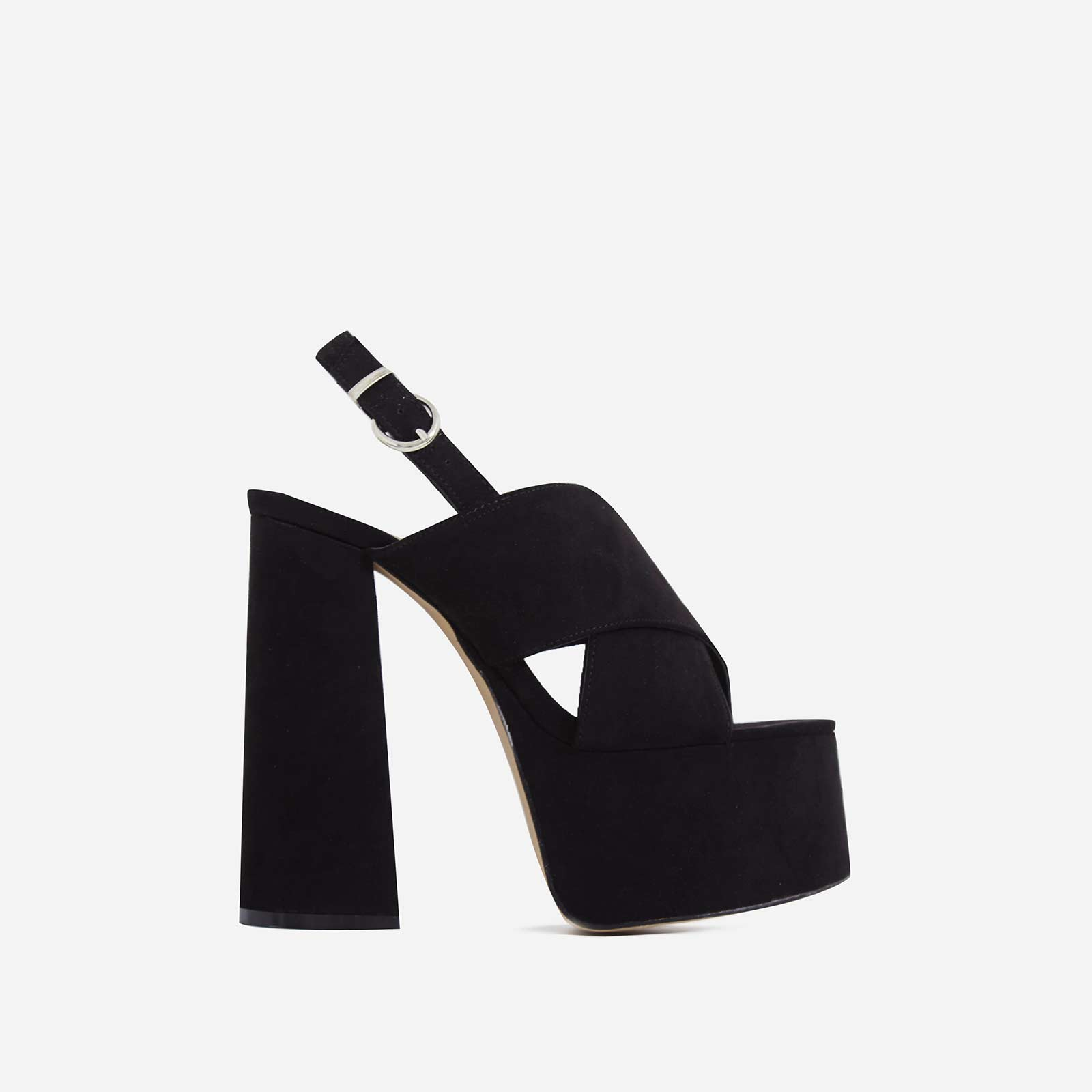 Kimberly Platform Peep Toe Mule In Black Faux Suede