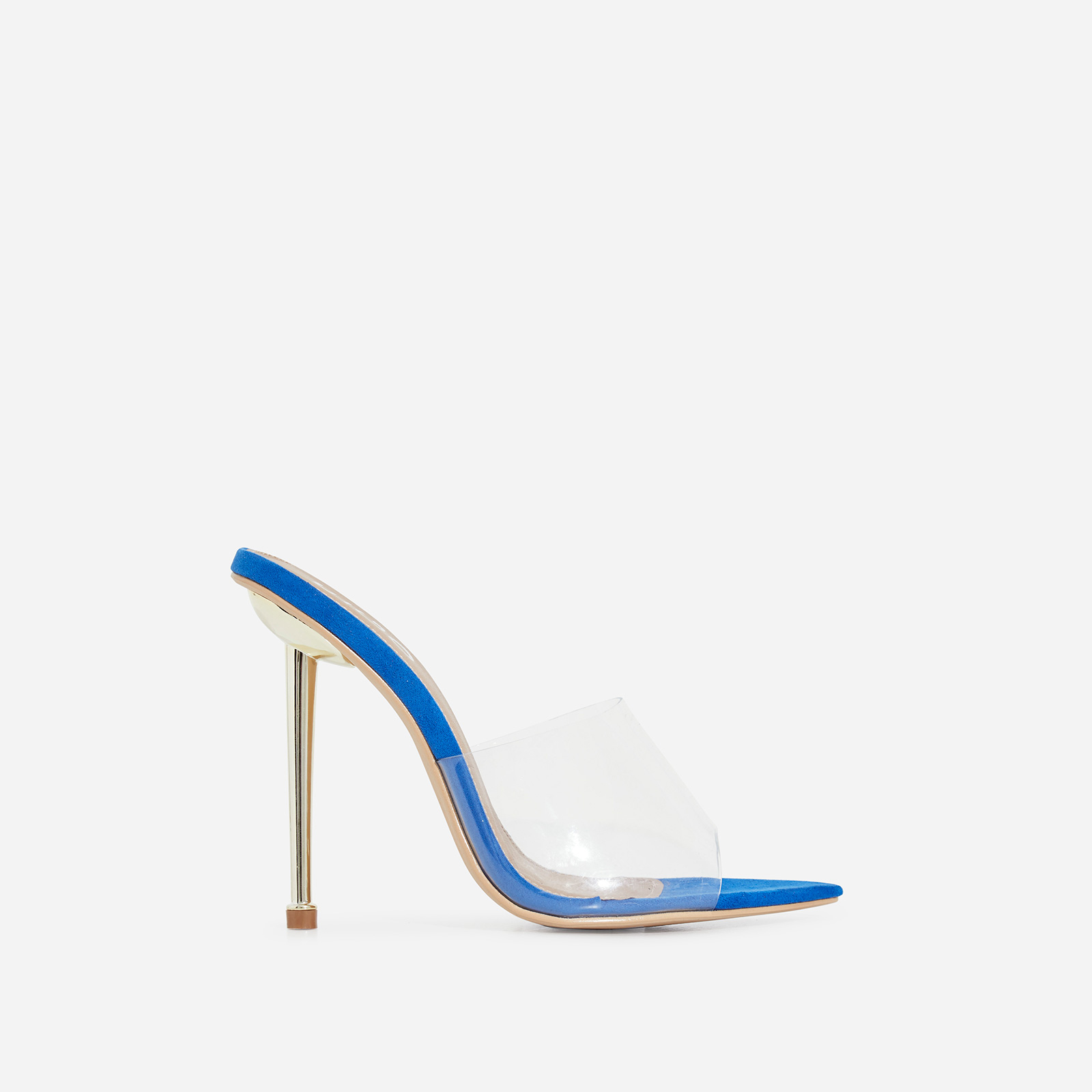 KingKing Perspex Pointed Peep Toe Heel Mule In Blue Faux Suede