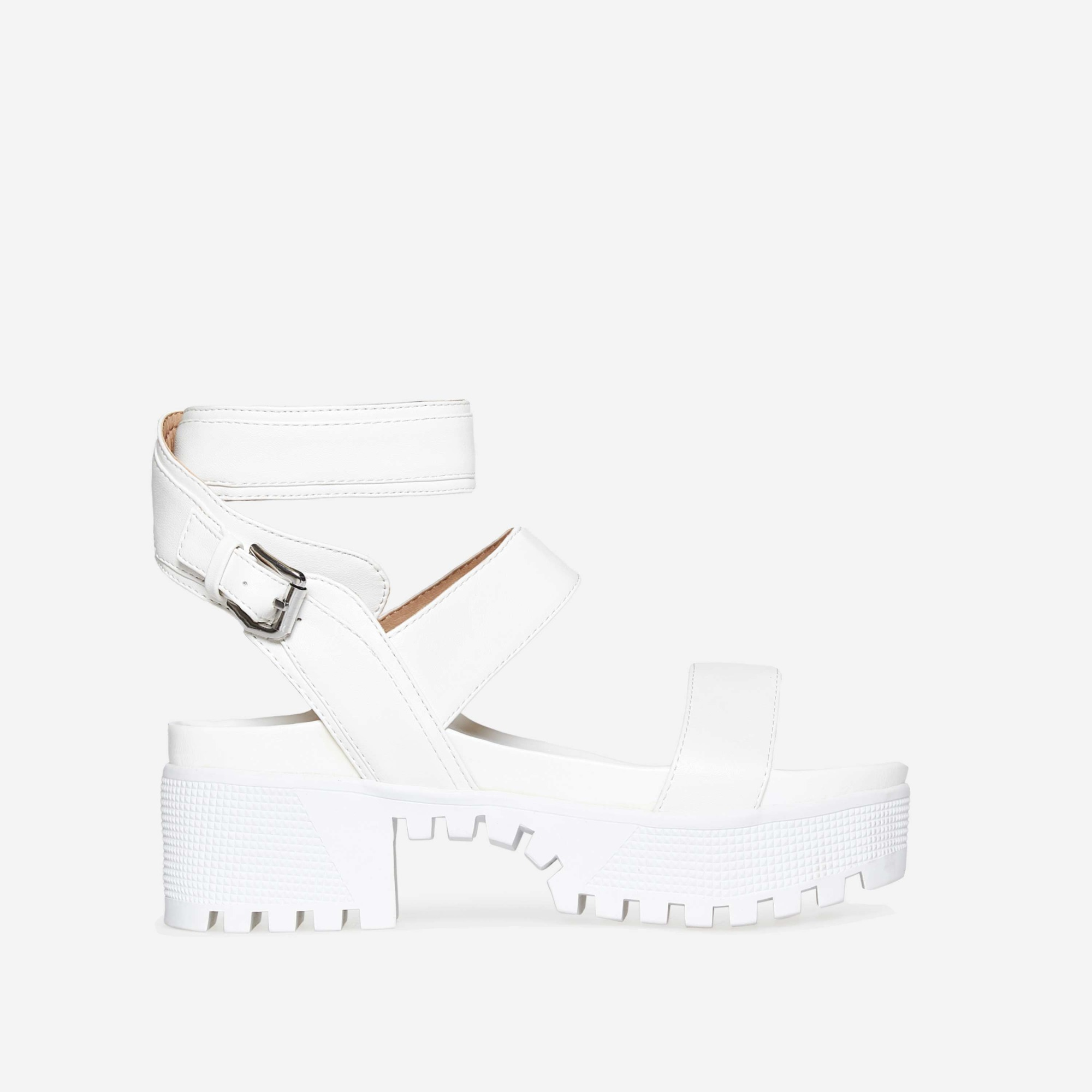 Kira Chunky Sandal In White Faux Leather