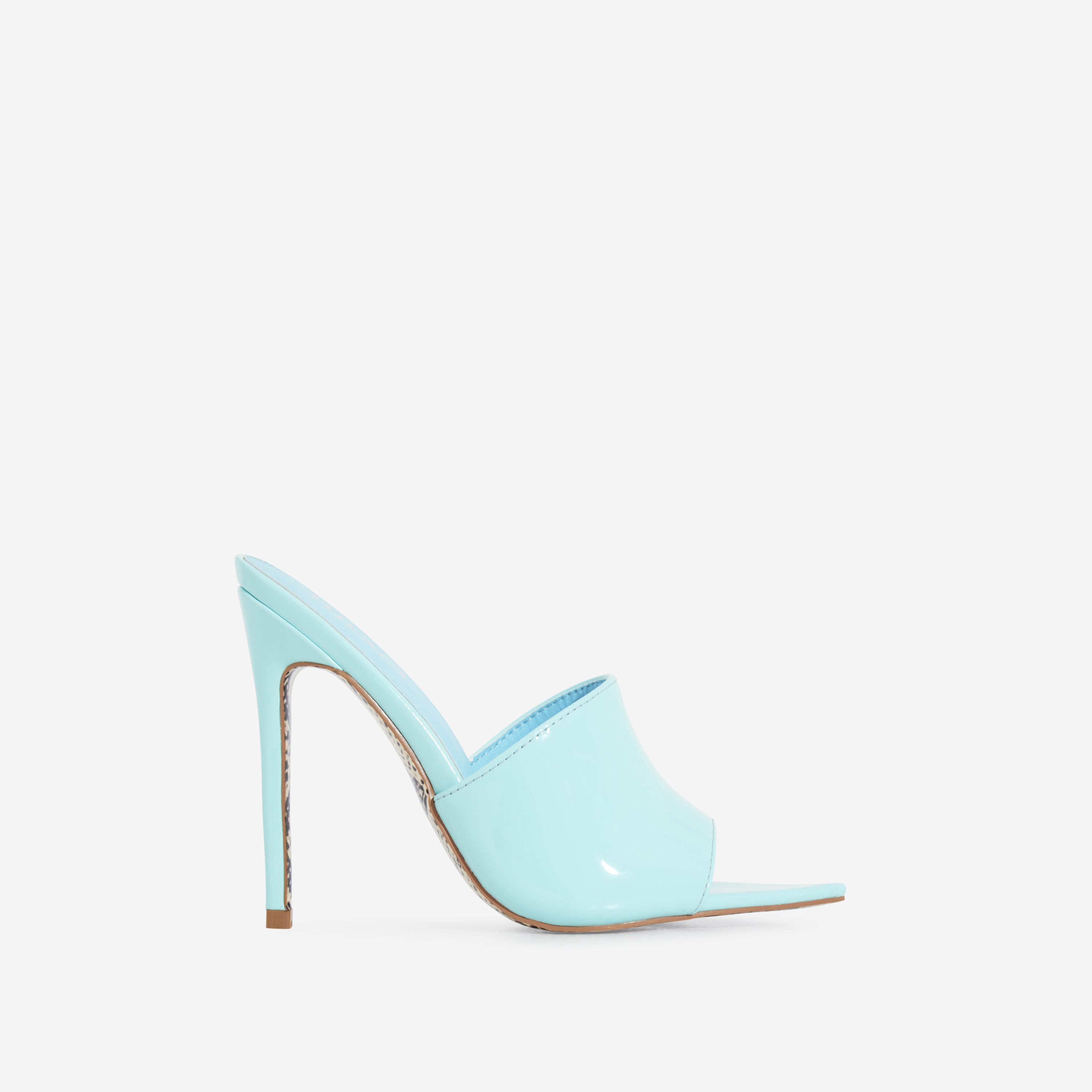 Koko Snake Print Sole Pointed Peep Toe Mule In Blue Patent