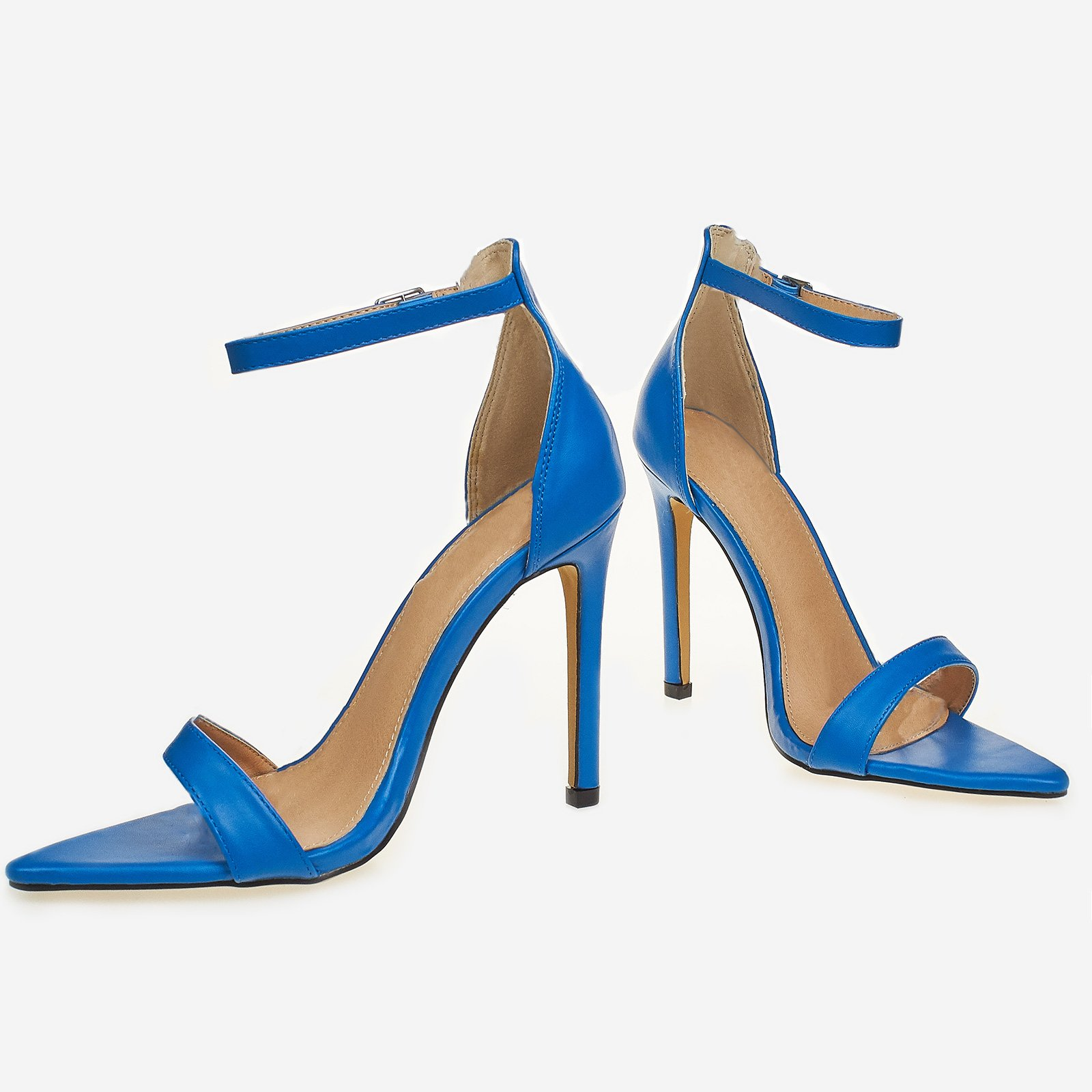 Vienna Barely There Pointed Toe Heel In Blue Faux Leather