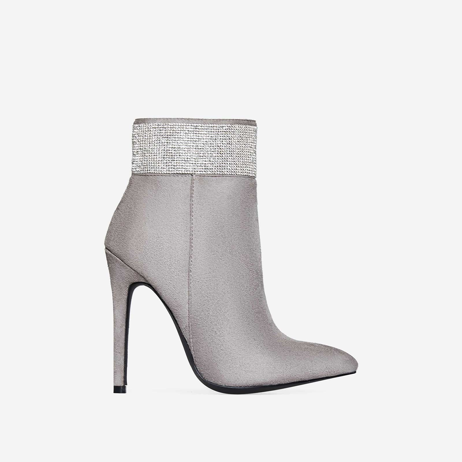 Hampton Crystal Detail Ankle Boot In Grey Faux Suede