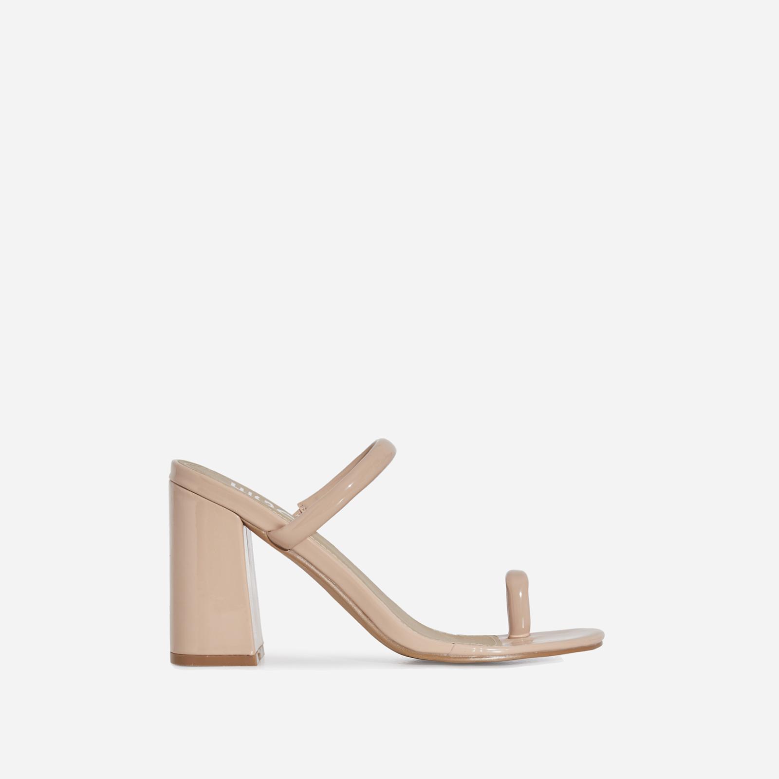 Kourt Toe Strap Black Heel Mule In Nude Patent