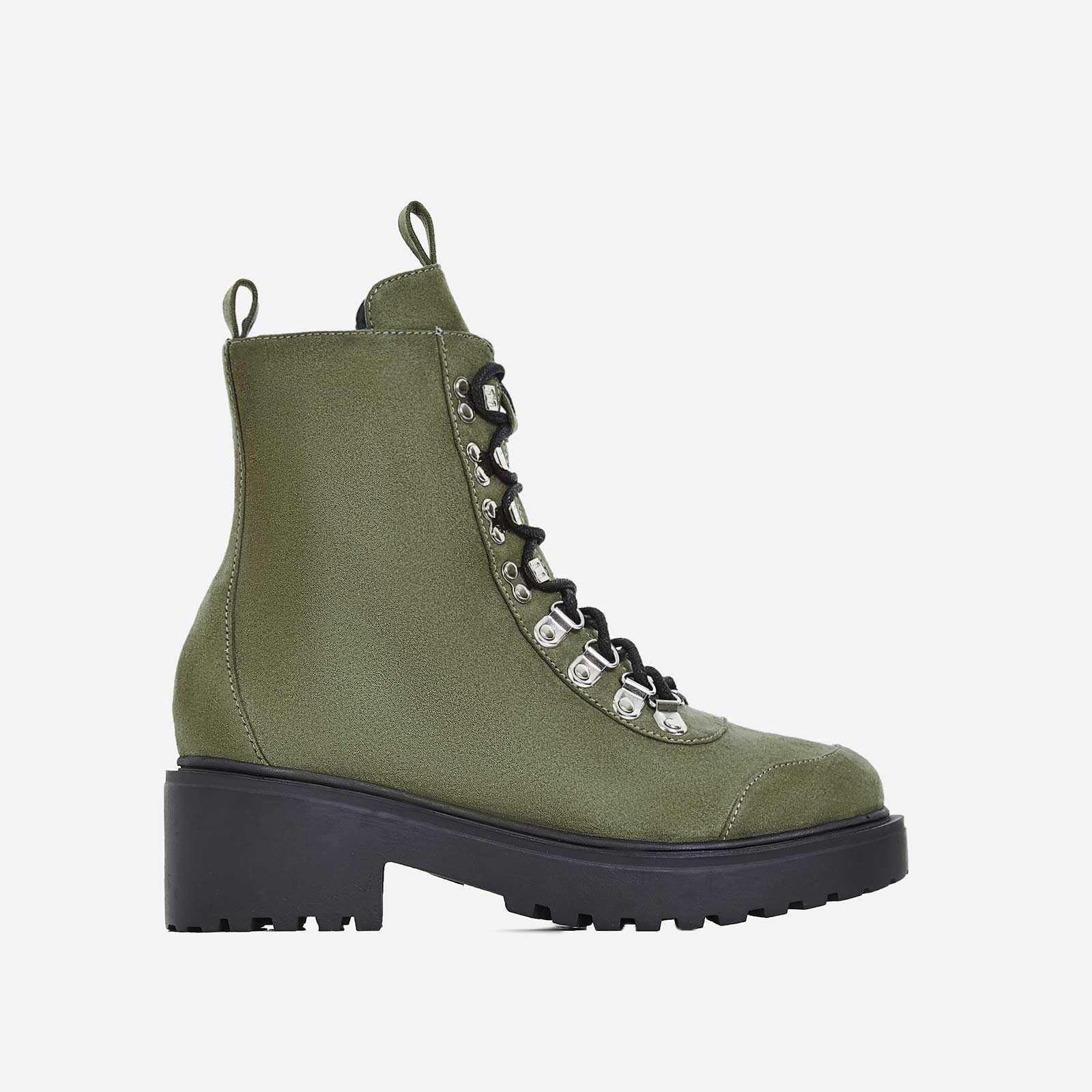 Kris Chunky Sole Lace Up Ankle Biker Boot In Khaki Faux Suede