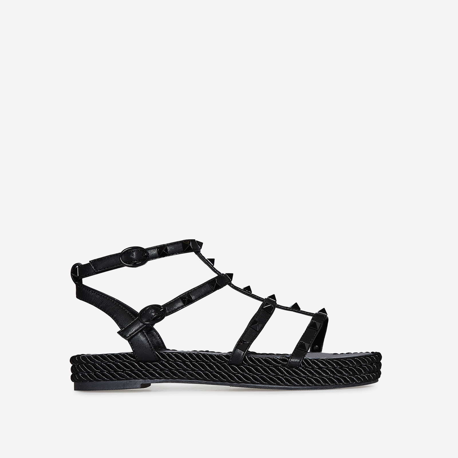 Emery Studded Detail Rope Espadrille In Black Faux Leather