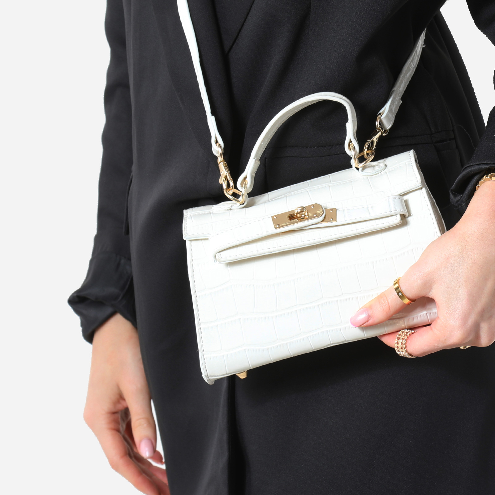 Lock Detail Mini Tote Bag In White Croc Print Patent