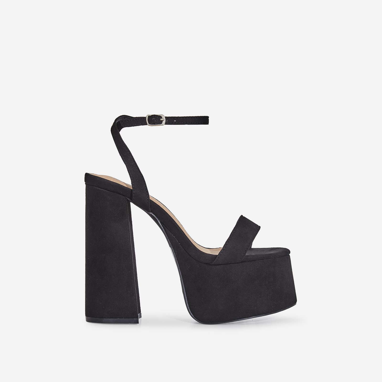 Lady Platform Block Heel In Black Faux Suede