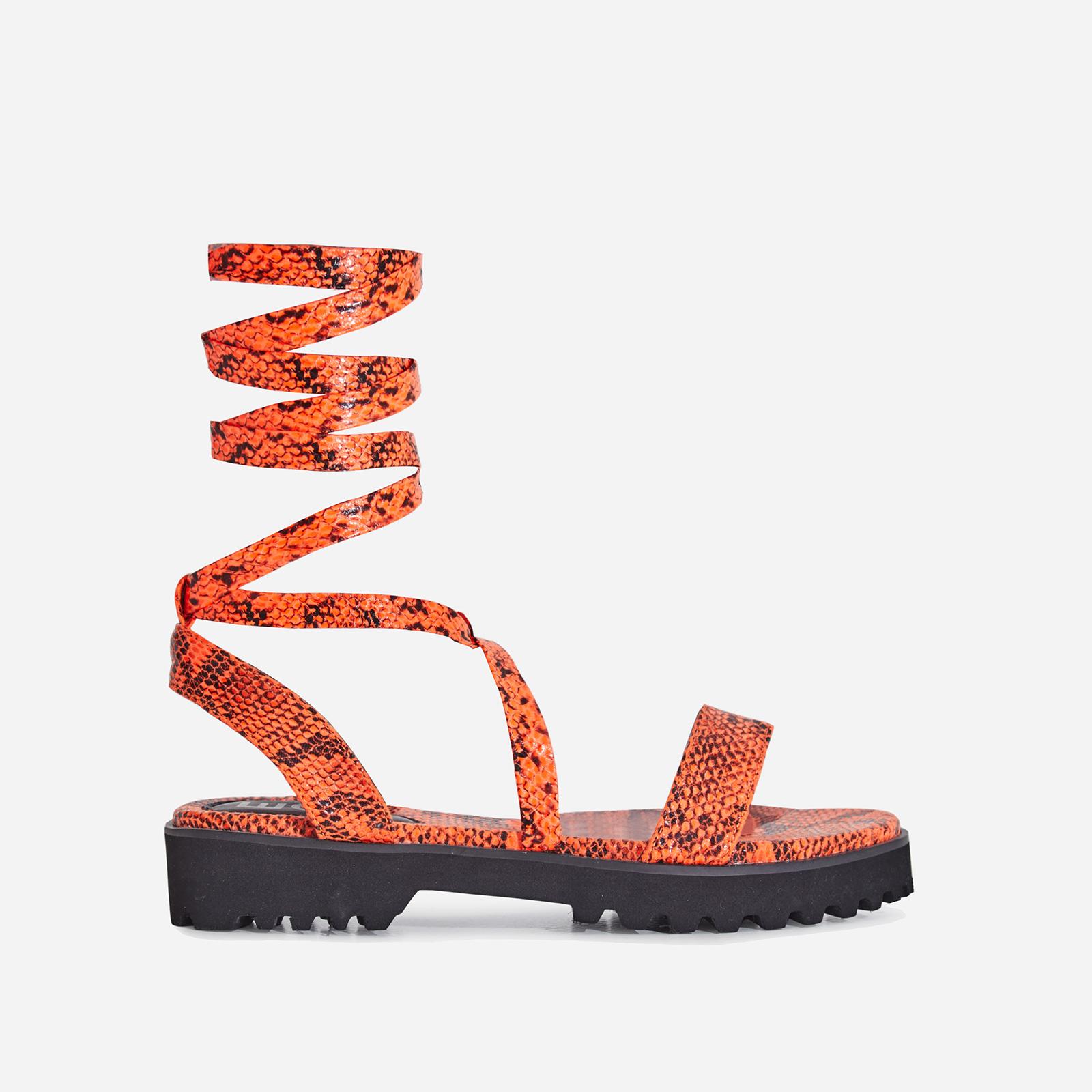 Larkin Lace Up Flat Sandal In Neon Orange Snake Print Faux Leather