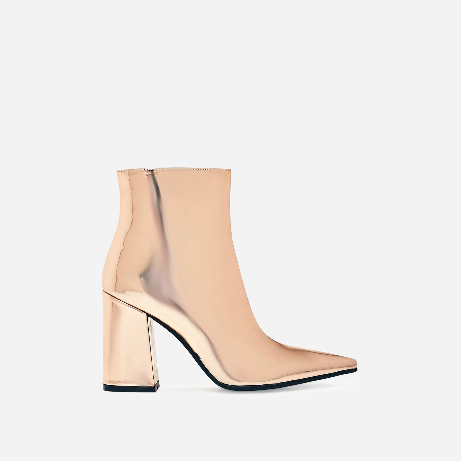 Larna Pointed Toe Ankle Boot In Metallic Rose Gold Faux Leather