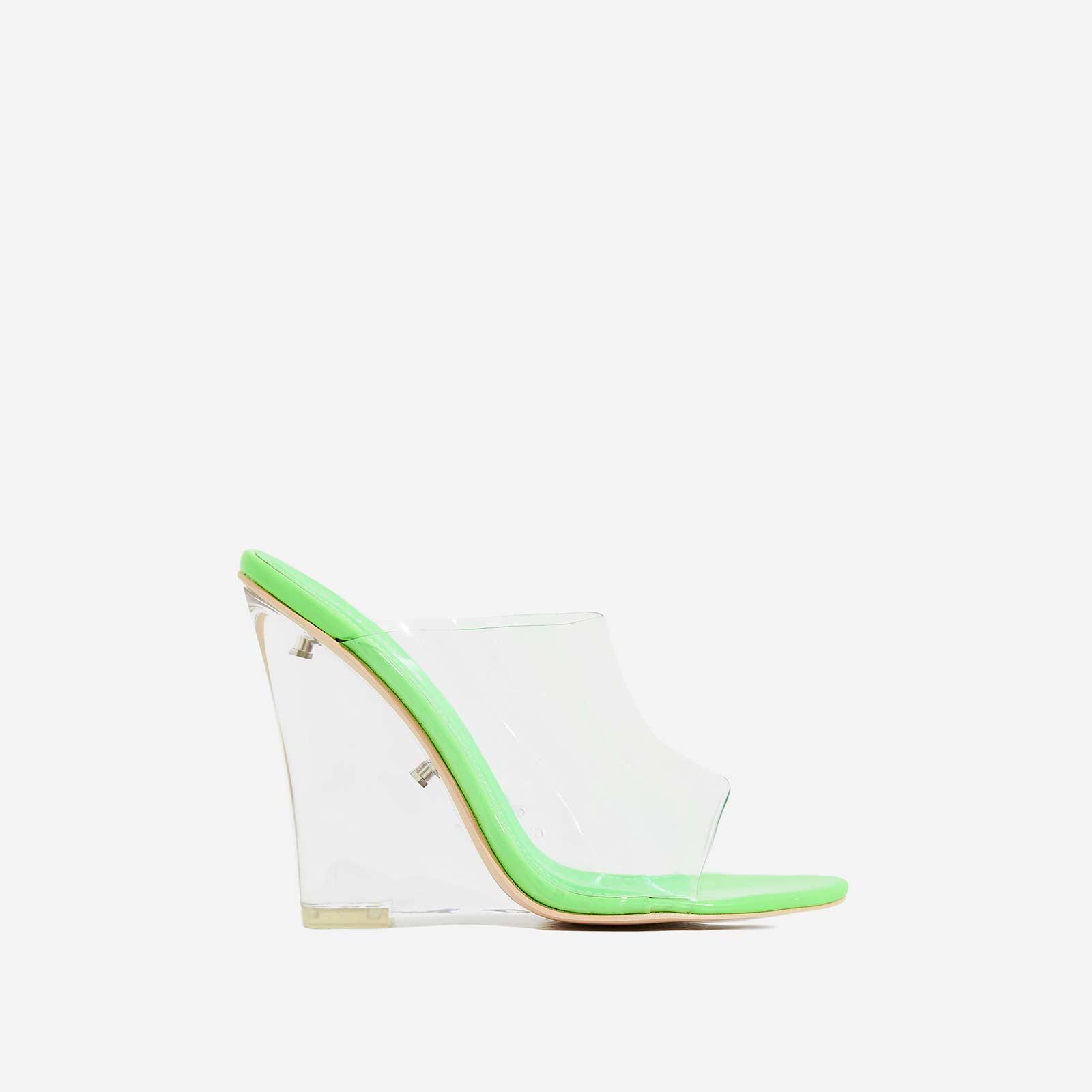 Lemonade Perspex Wedge Peep Toe Mule In Lime Green Patent