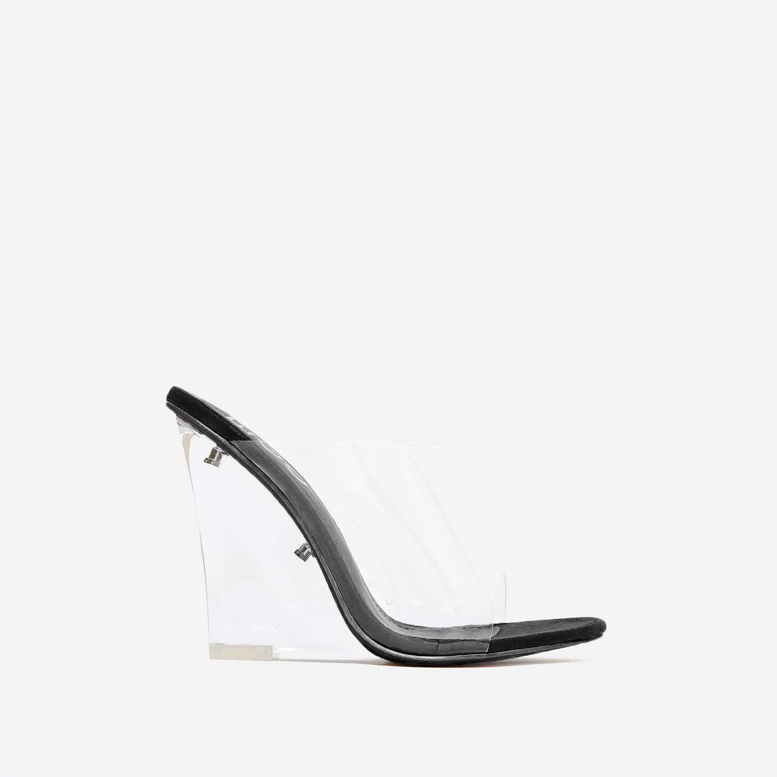 Lemonade Perspex Wedge Mule In Black Faux Suede