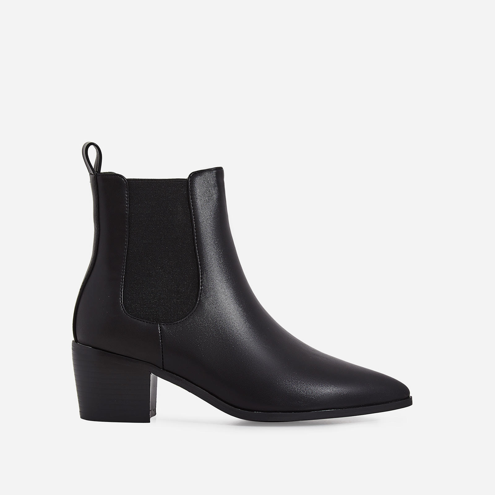 Leonie Ankle Chelsea Boot In Black Faux Leather
