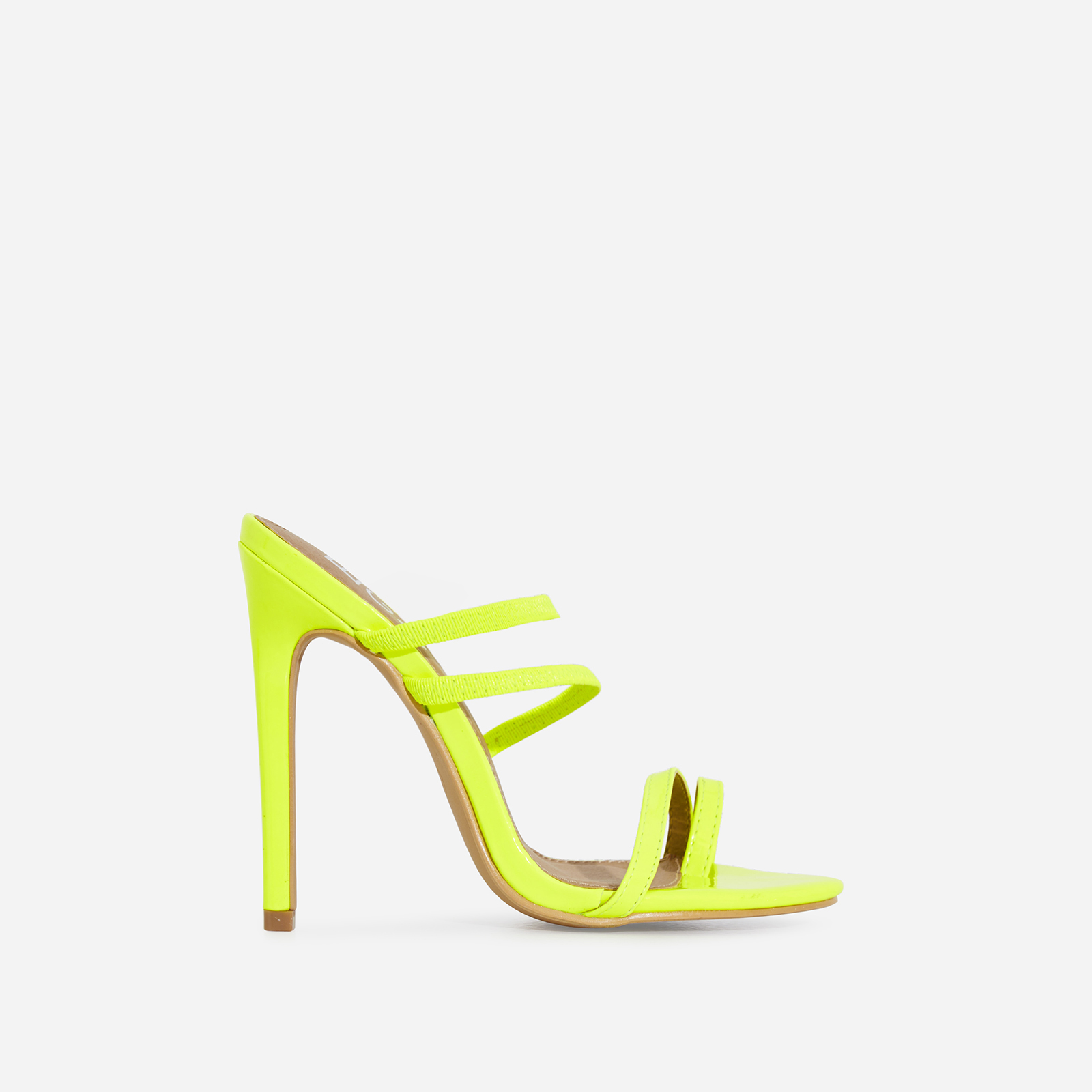 Letty Toe Strap Heel Mule In Lime Green Faux Leather
