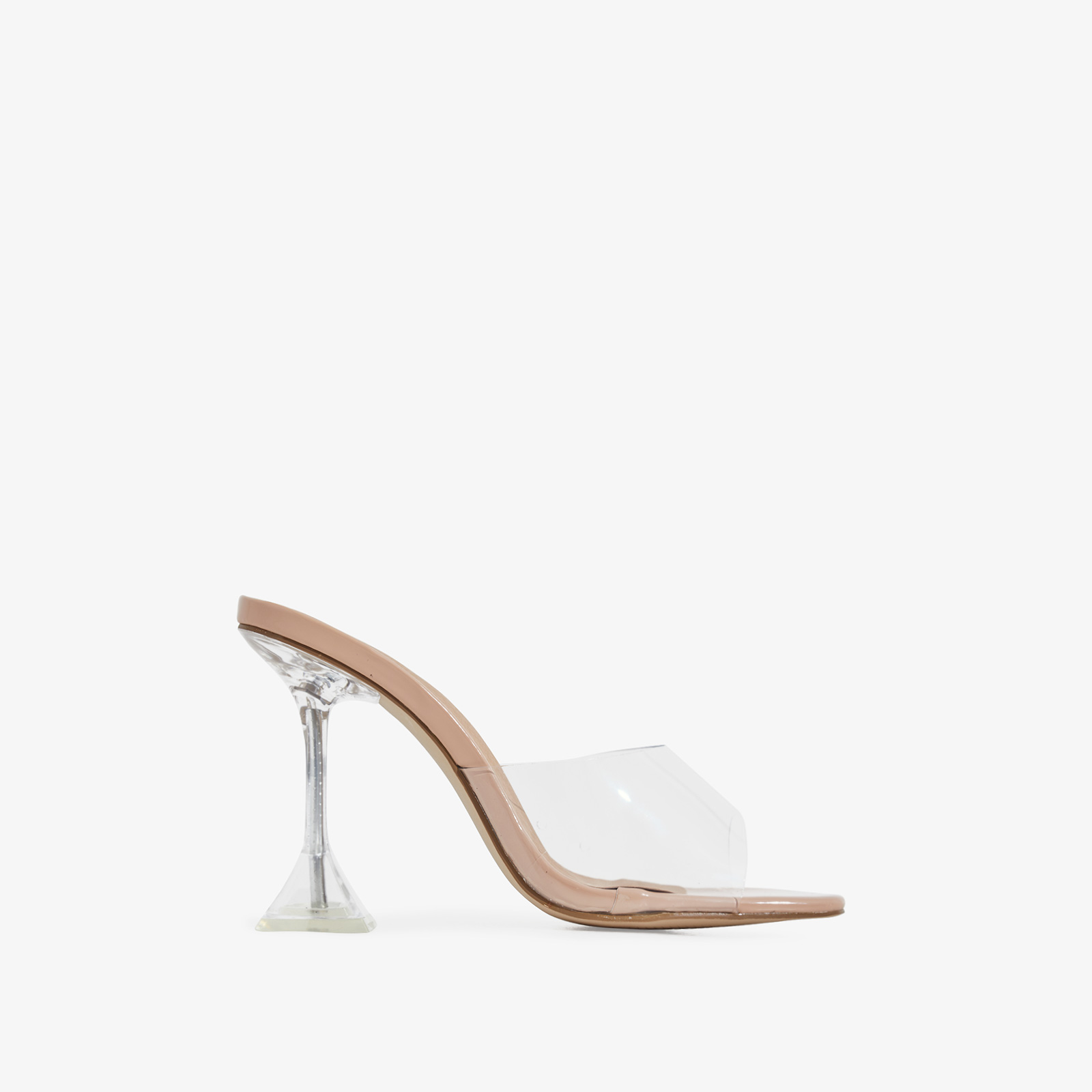 Lila Square Toe Perspex Heel Mule In Nude Patent