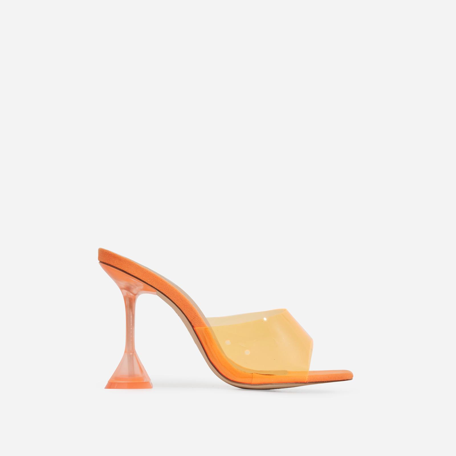 Lila Square Toe Perspex Heel Mule In Orange Faux Suede