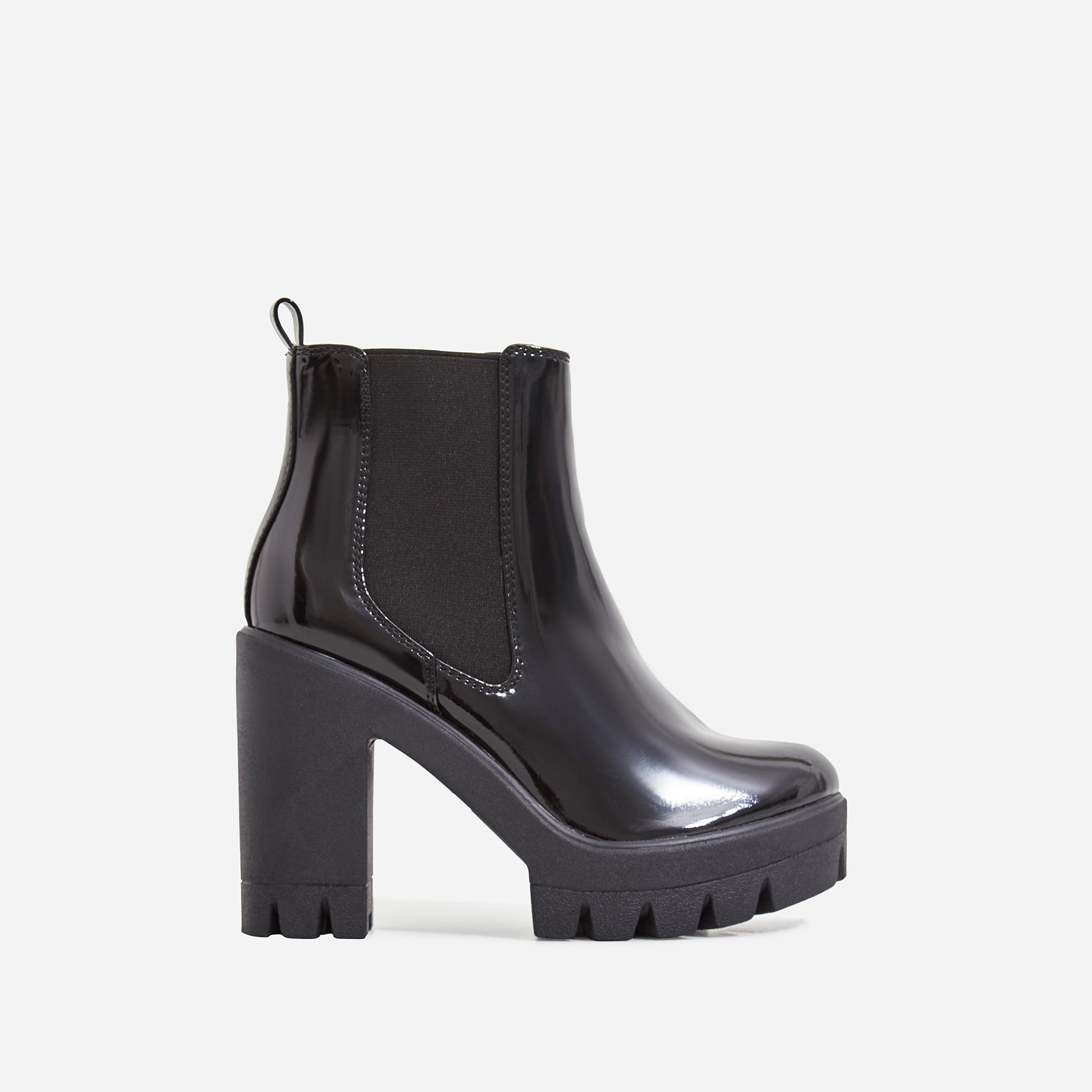 Liya Chunky Sole Ankle Chelsea Boot In Black Patent