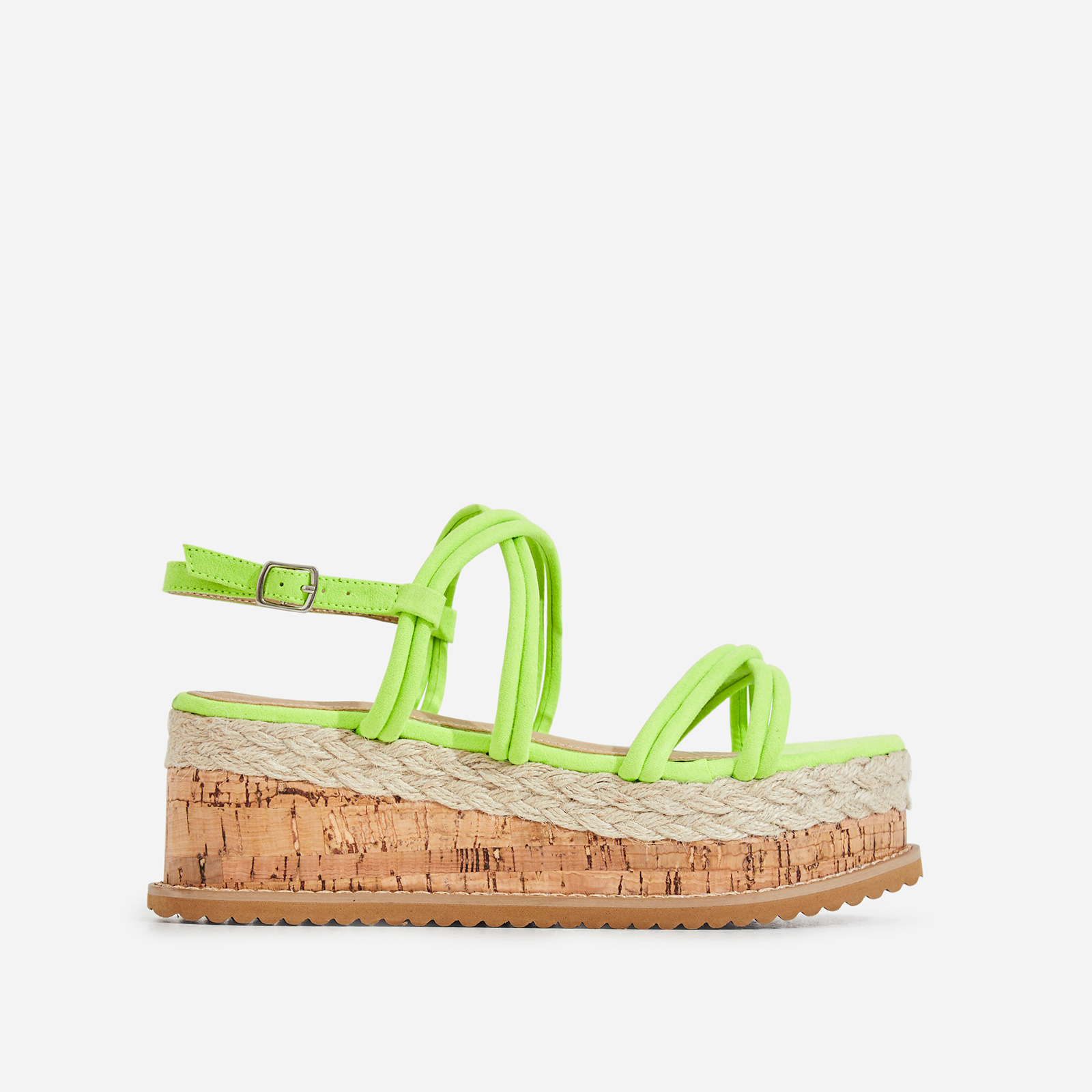 Lizzo Espadrille Flatform Sandal In Lime Green Faux Suede