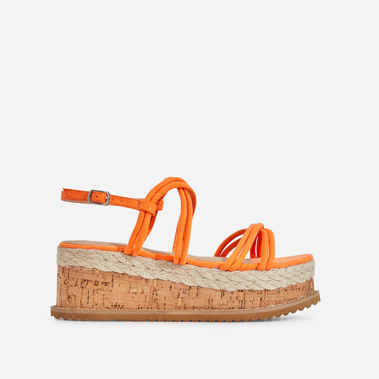 Lizzo Espadrille Flatform Sandal In Neon Orange Faux Suede