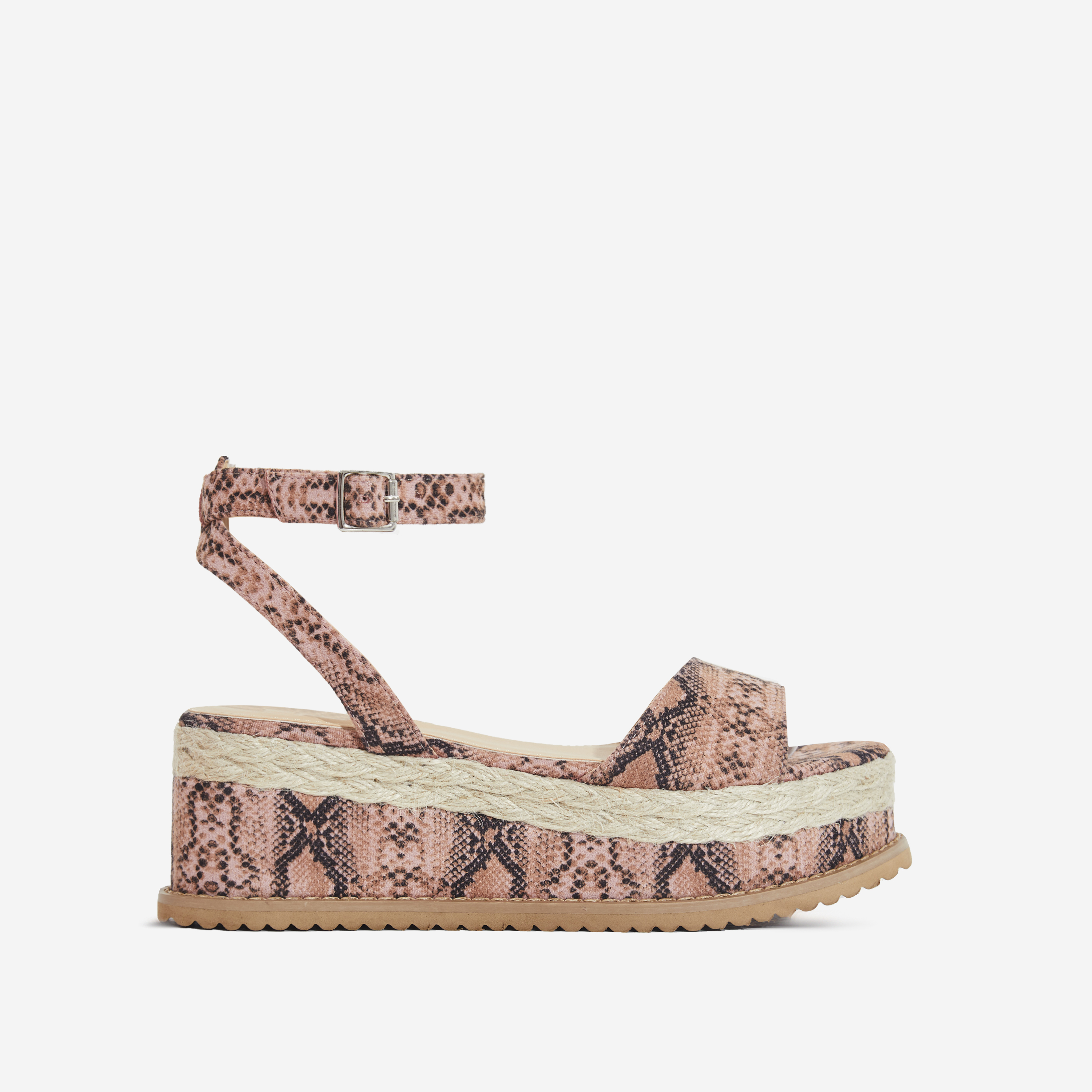 b0f38fcd9401f0 Lucie Espadrille Flatform In Pink Snake Print Faux Suede