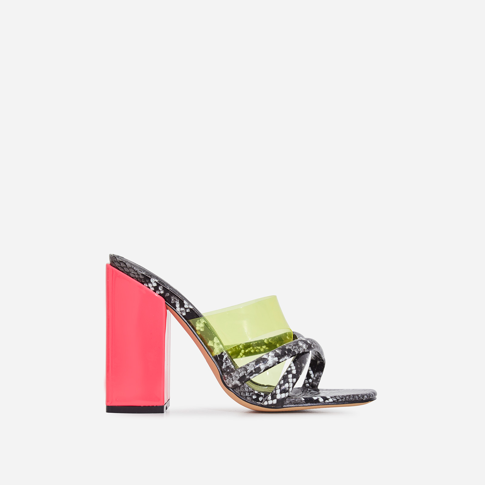 Lumi Square Toe Perspex Block Heel Mule In Grey Snake Print Faux Leather