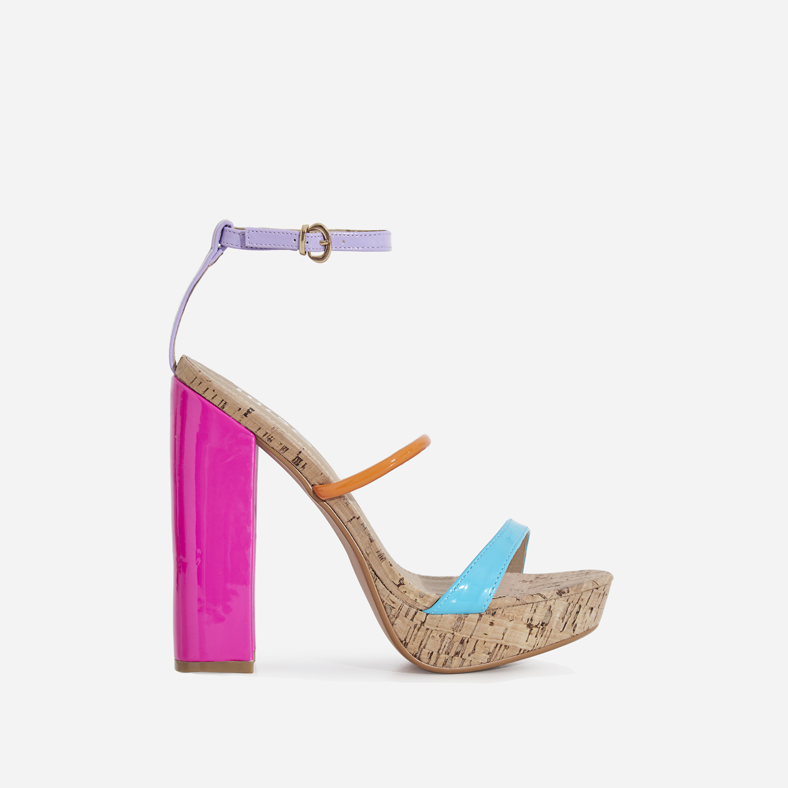Lyric Cork Platform Heel In Multi Patent