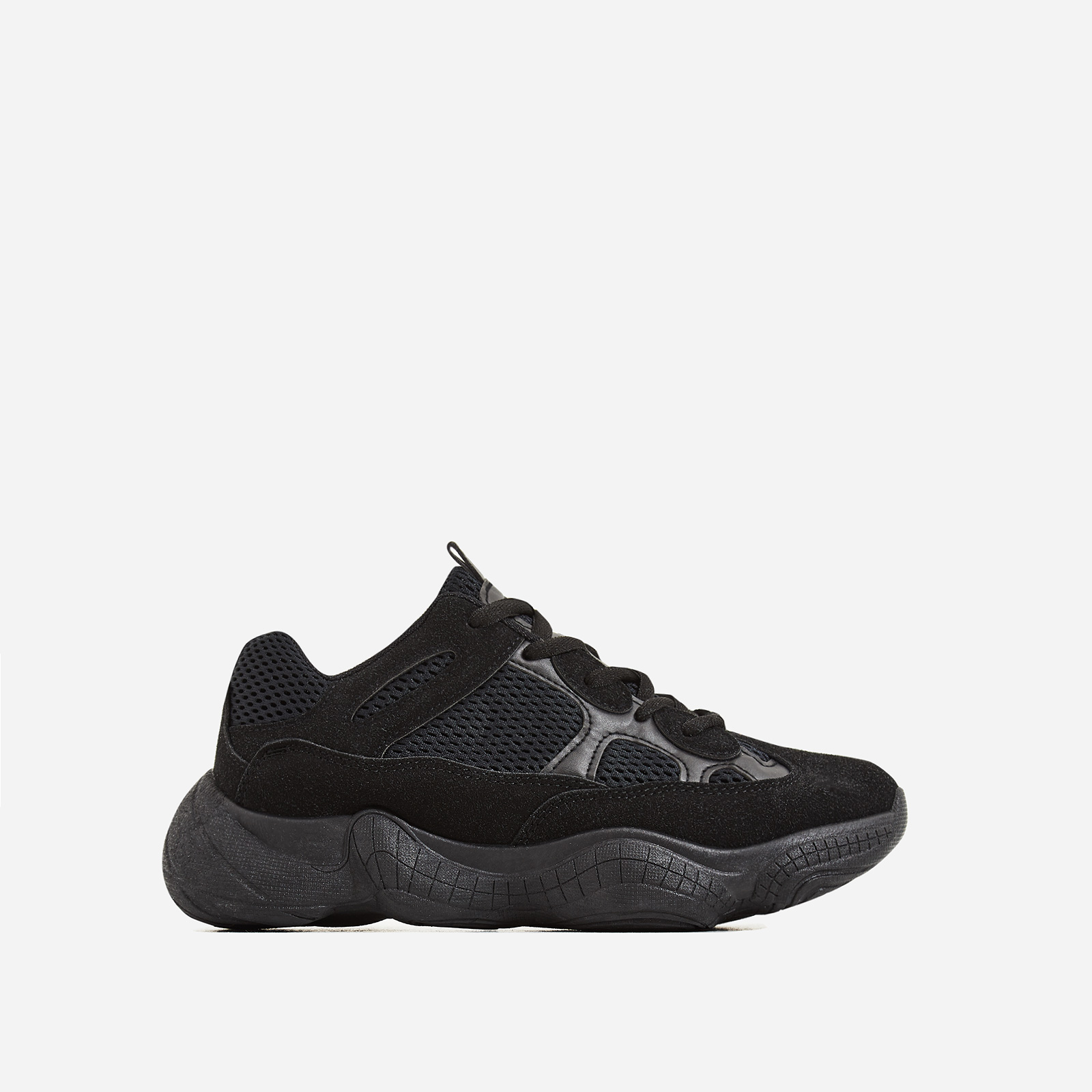 Kane Chunky Sole Mesh Trainer In Black Faux Suede